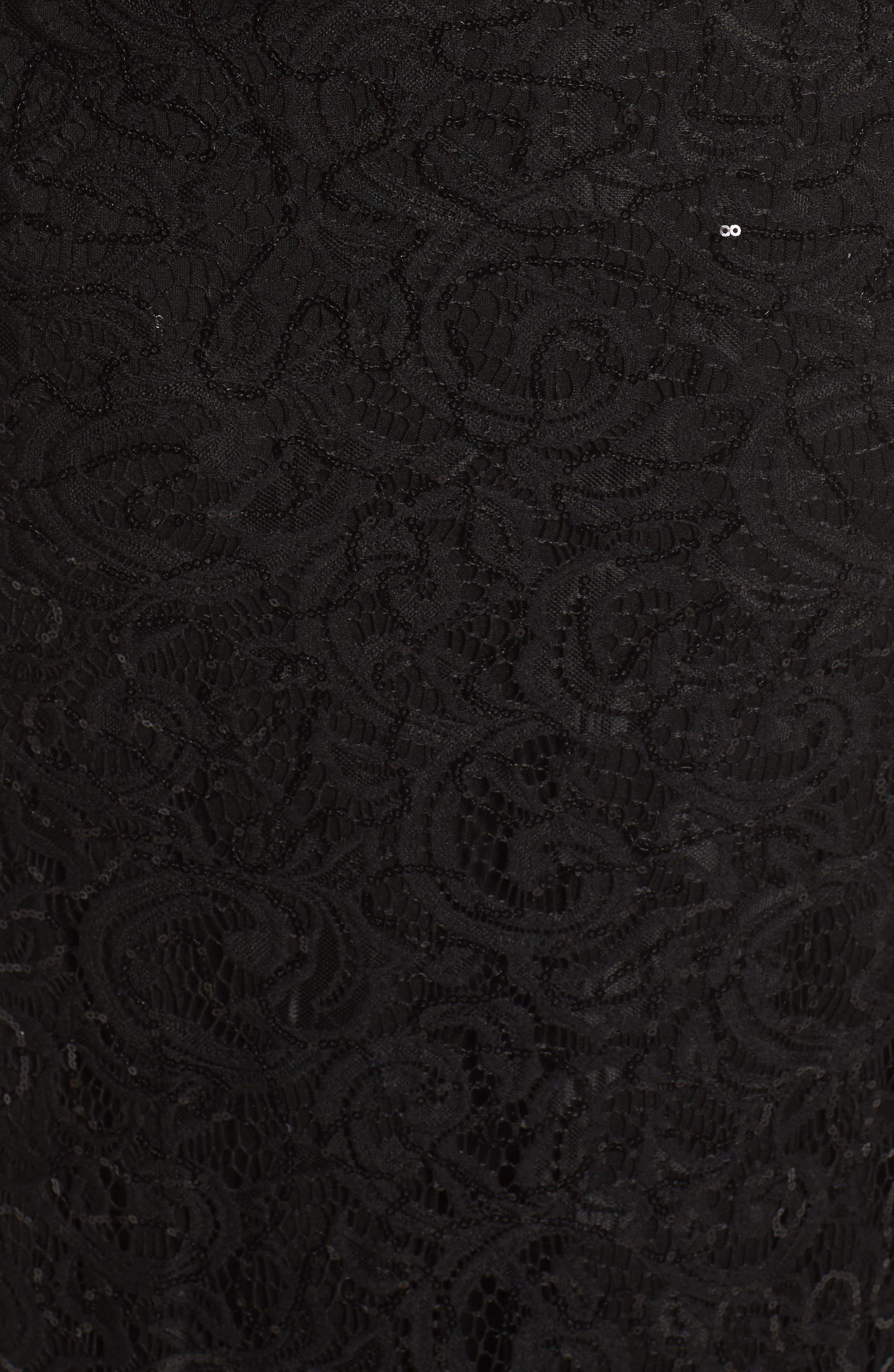 Capelet Sequin Lace A-Line Gown,                             Alternate thumbnail 5, color,                             Black