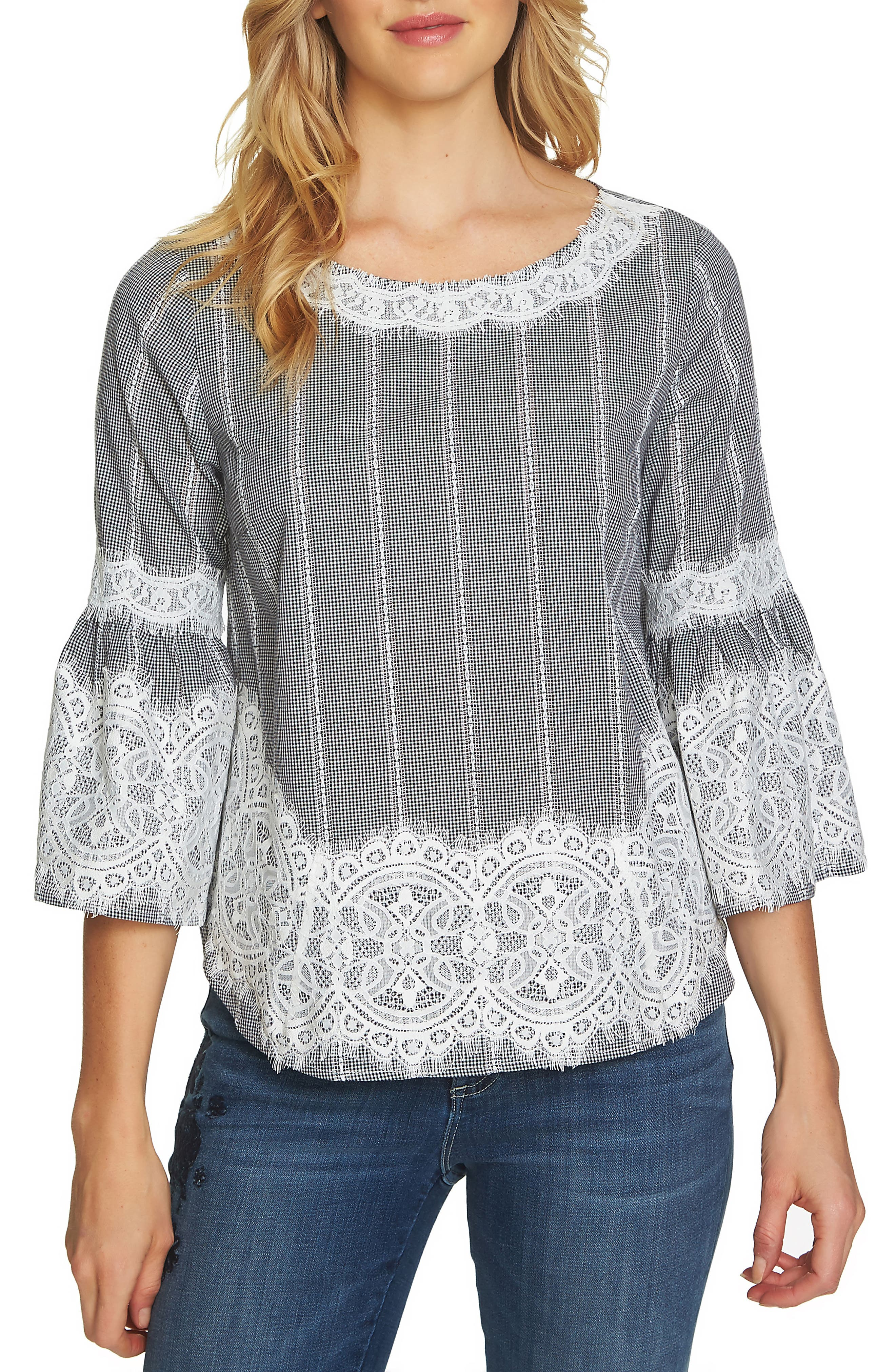 Bell Sleeve Lace & Gingham Blouse,                         Main,                         color, Rich Black