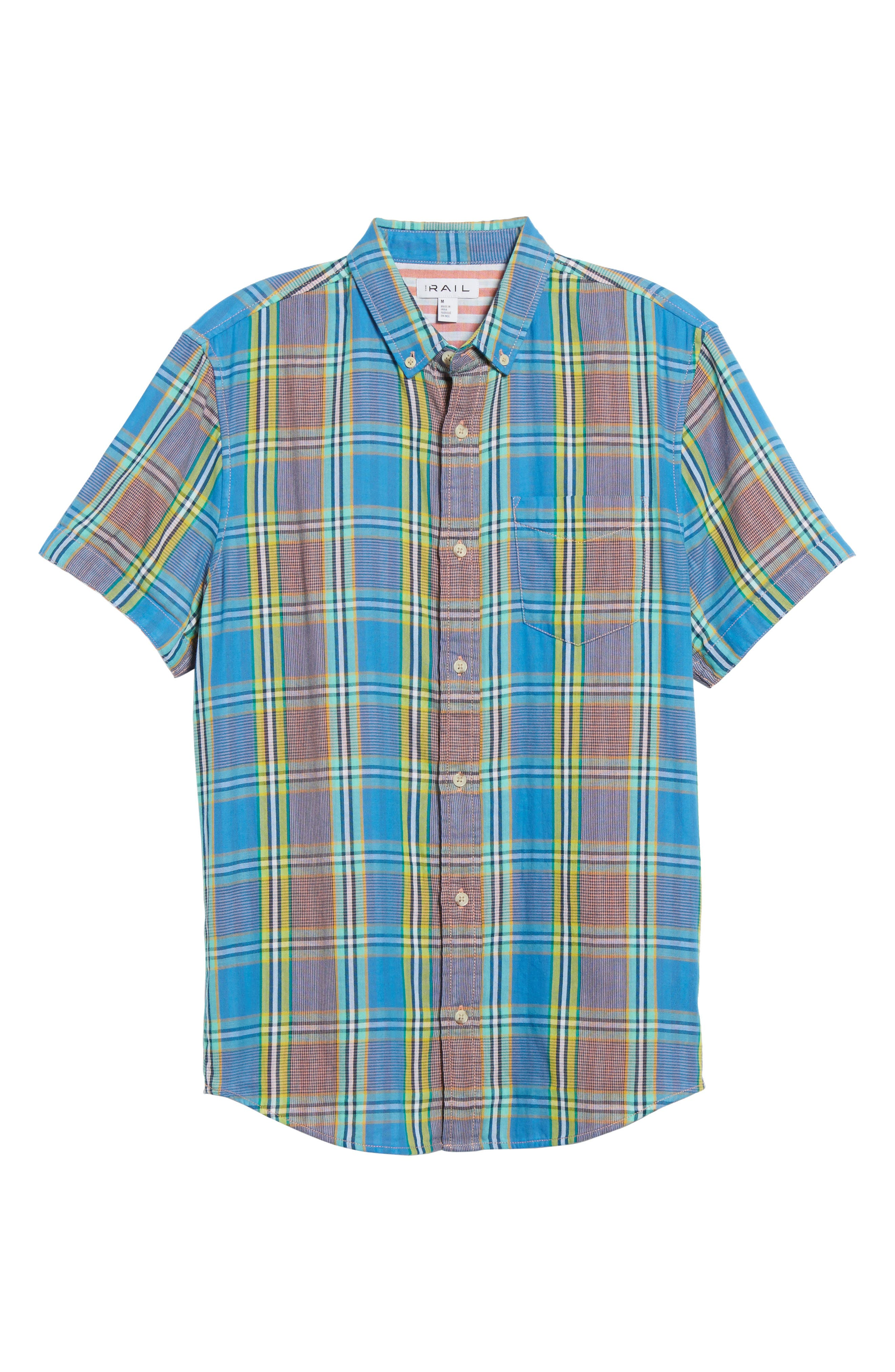 Short Sleeve Plaid Duofold Shirt,                             Alternate thumbnail 6, color,                             Blue Green Plaid Duo Fold