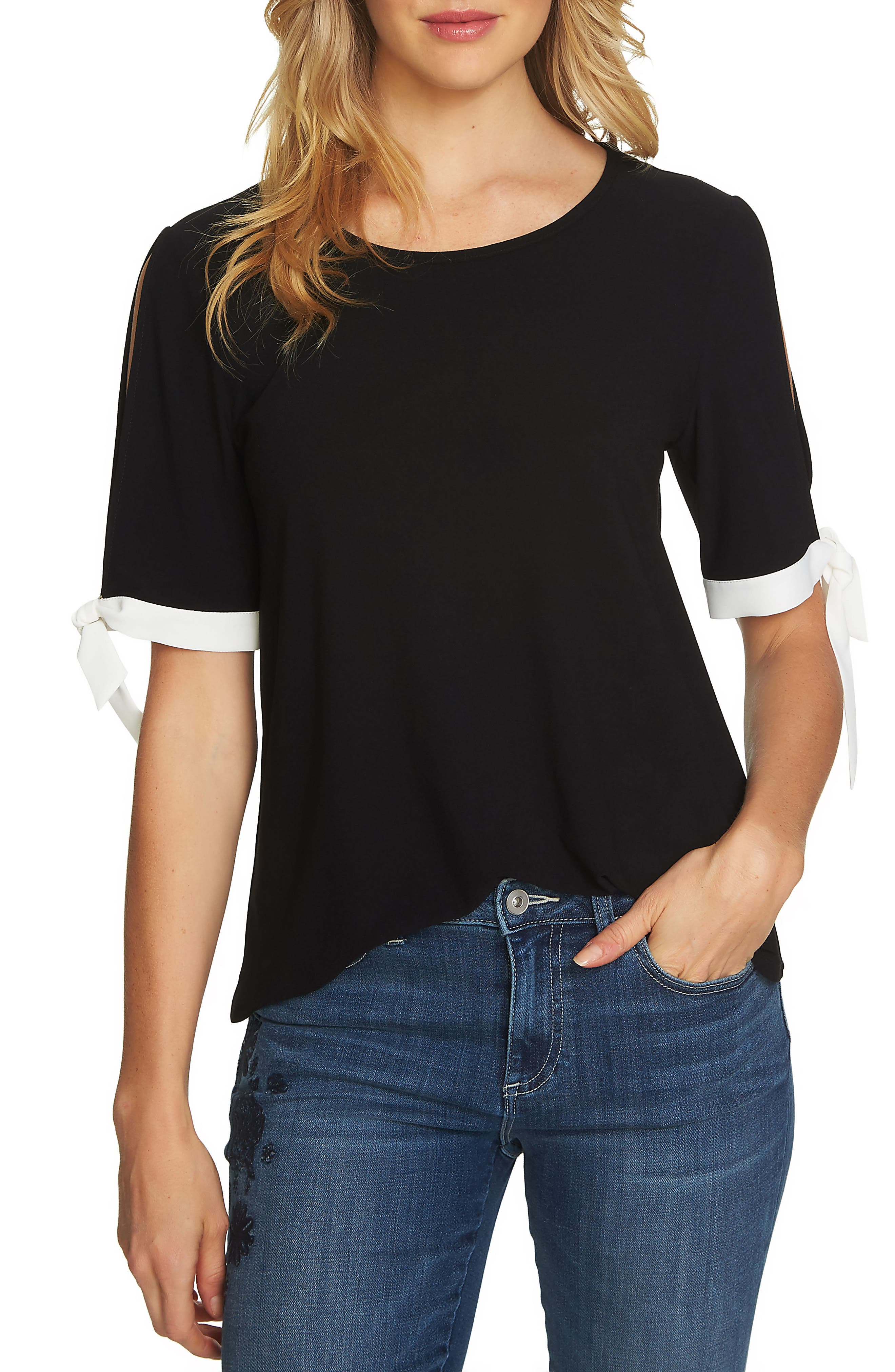 Tie Slit Sleeve Tee,                             Main thumbnail 1, color,                             Rich Black