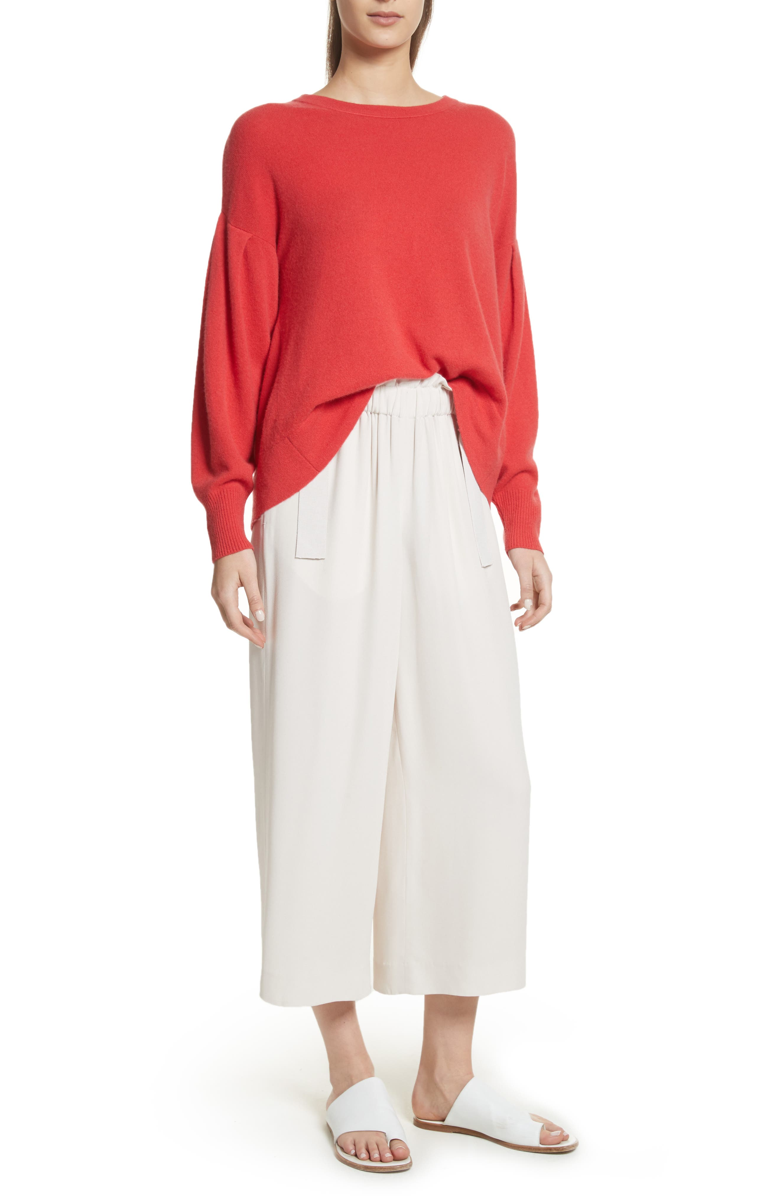 Pleat Sleeve Cashmere Sweater,                             Alternate thumbnail 6, color,                             Poppy