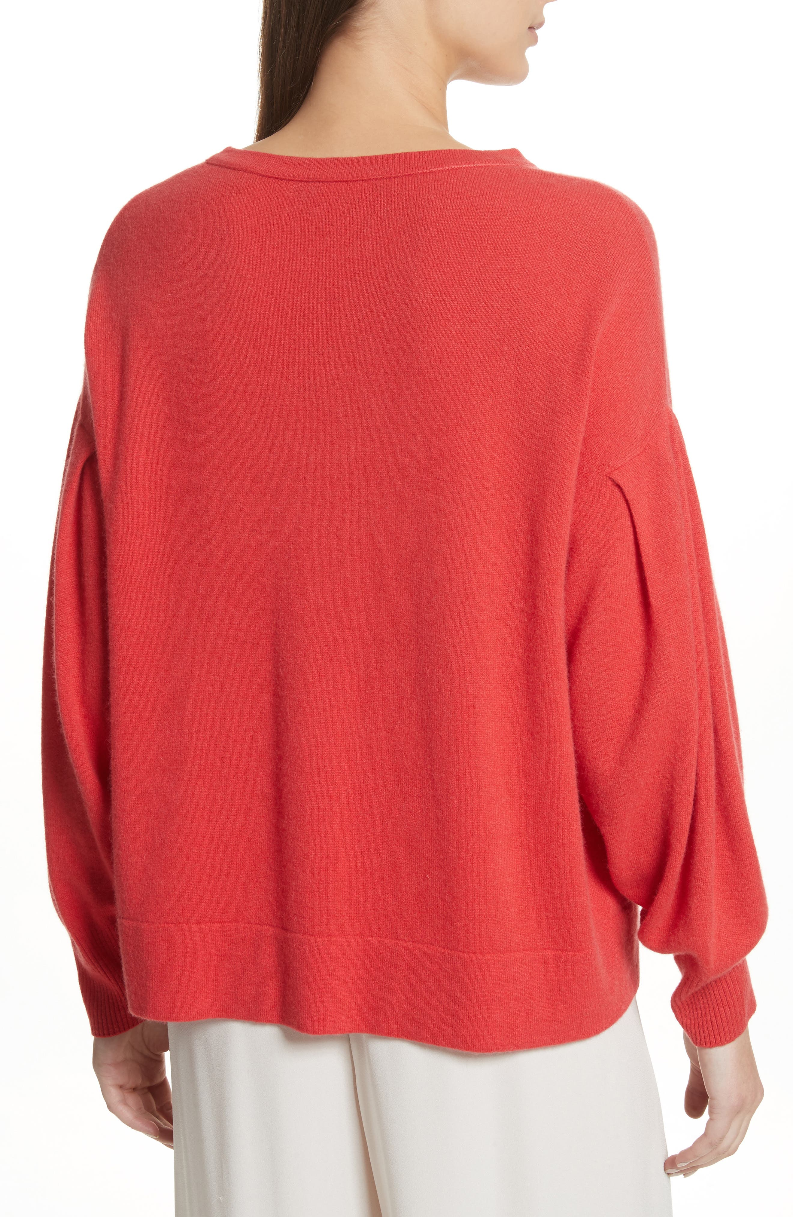 Pleat Sleeve Cashmere Sweater,                             Alternate thumbnail 3, color,                             Poppy