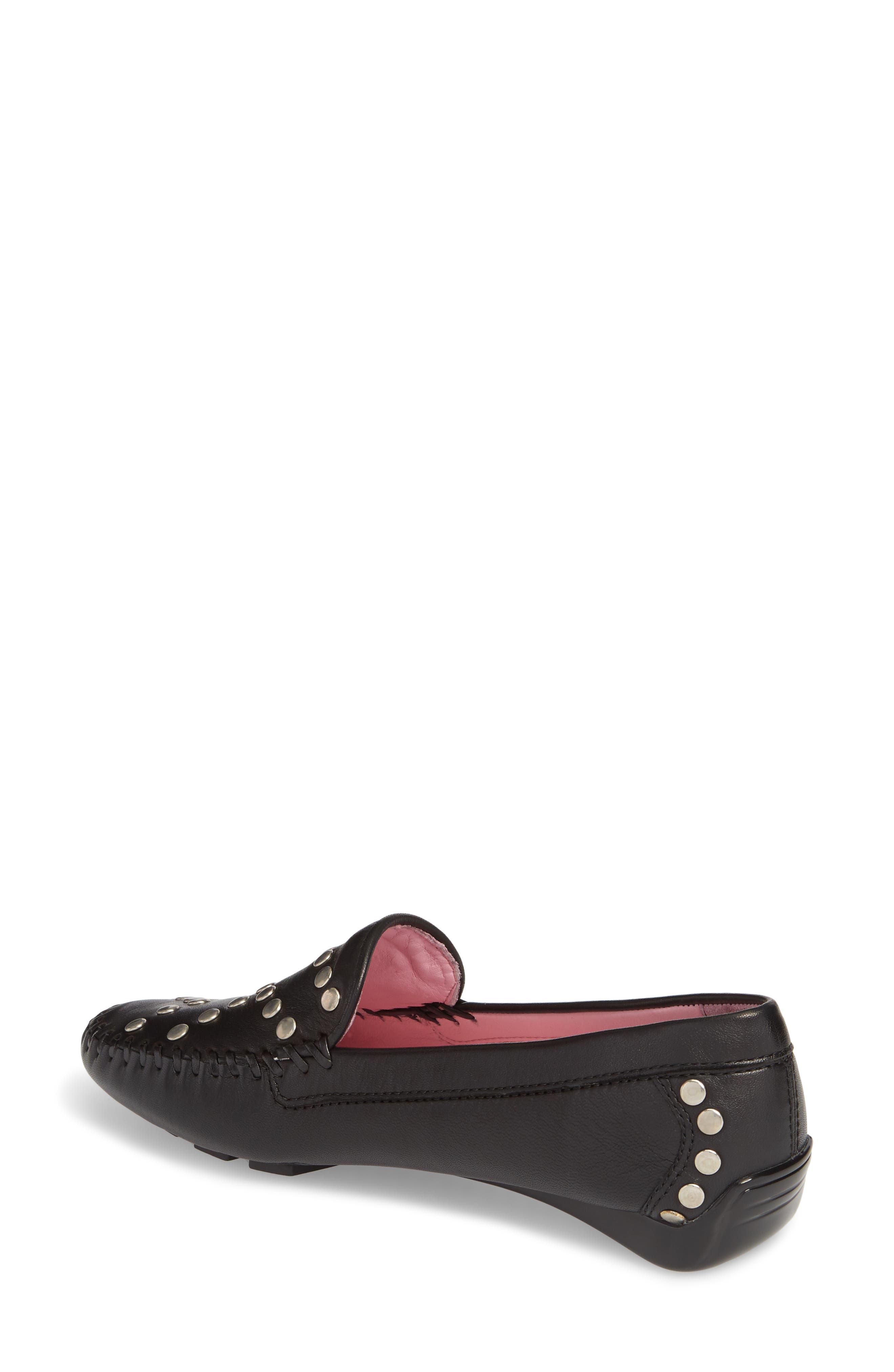 Tinae Studded Loafer,                             Alternate thumbnail 2, color,                             Black Leather