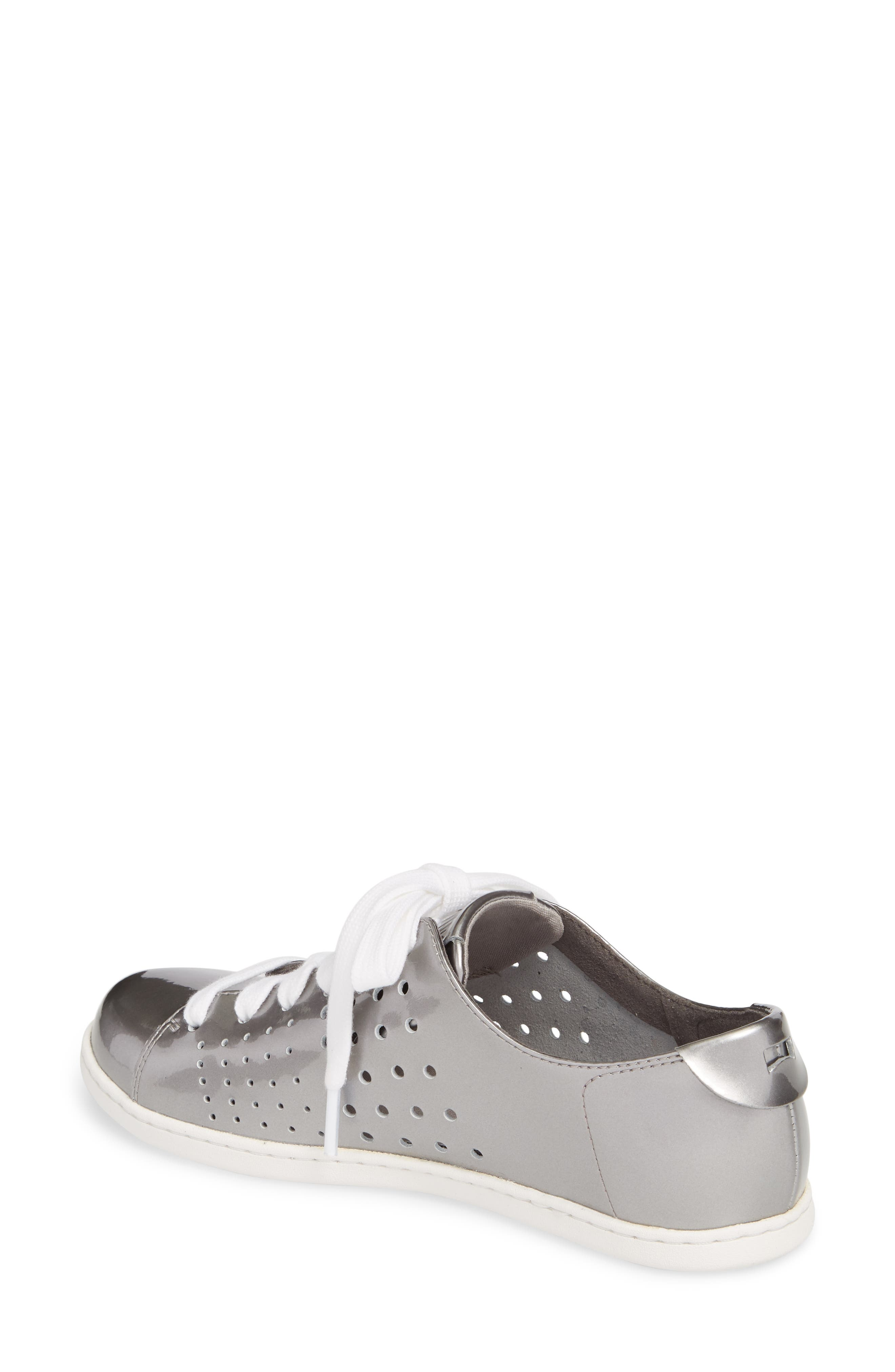 Twins Perforated Low Top Sneaker,                             Alternate thumbnail 2, color,                             Medium Gray Leather