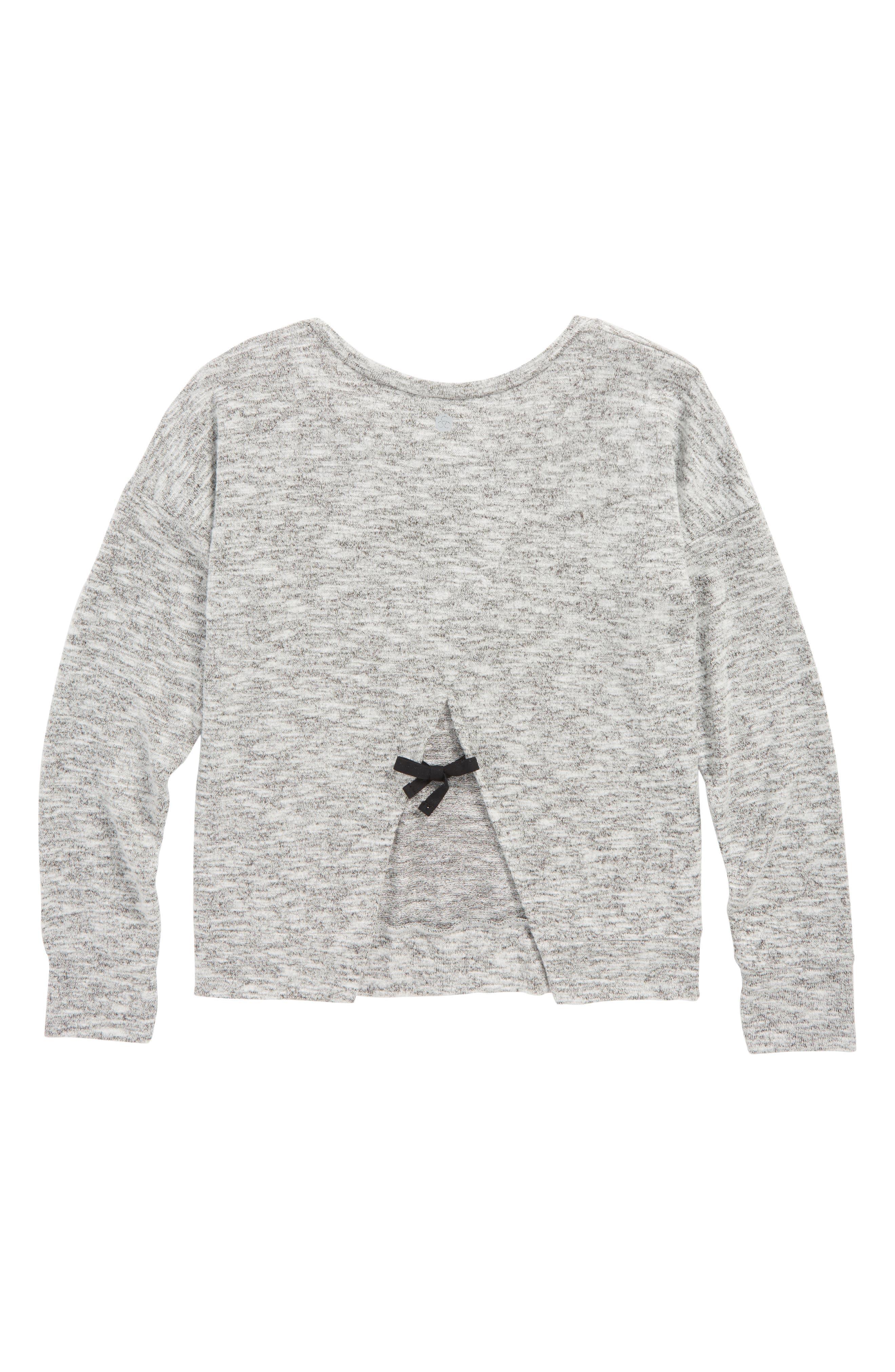 Zella Open Back Sweater,                             Alternate thumbnail 2, color,                             Black- White