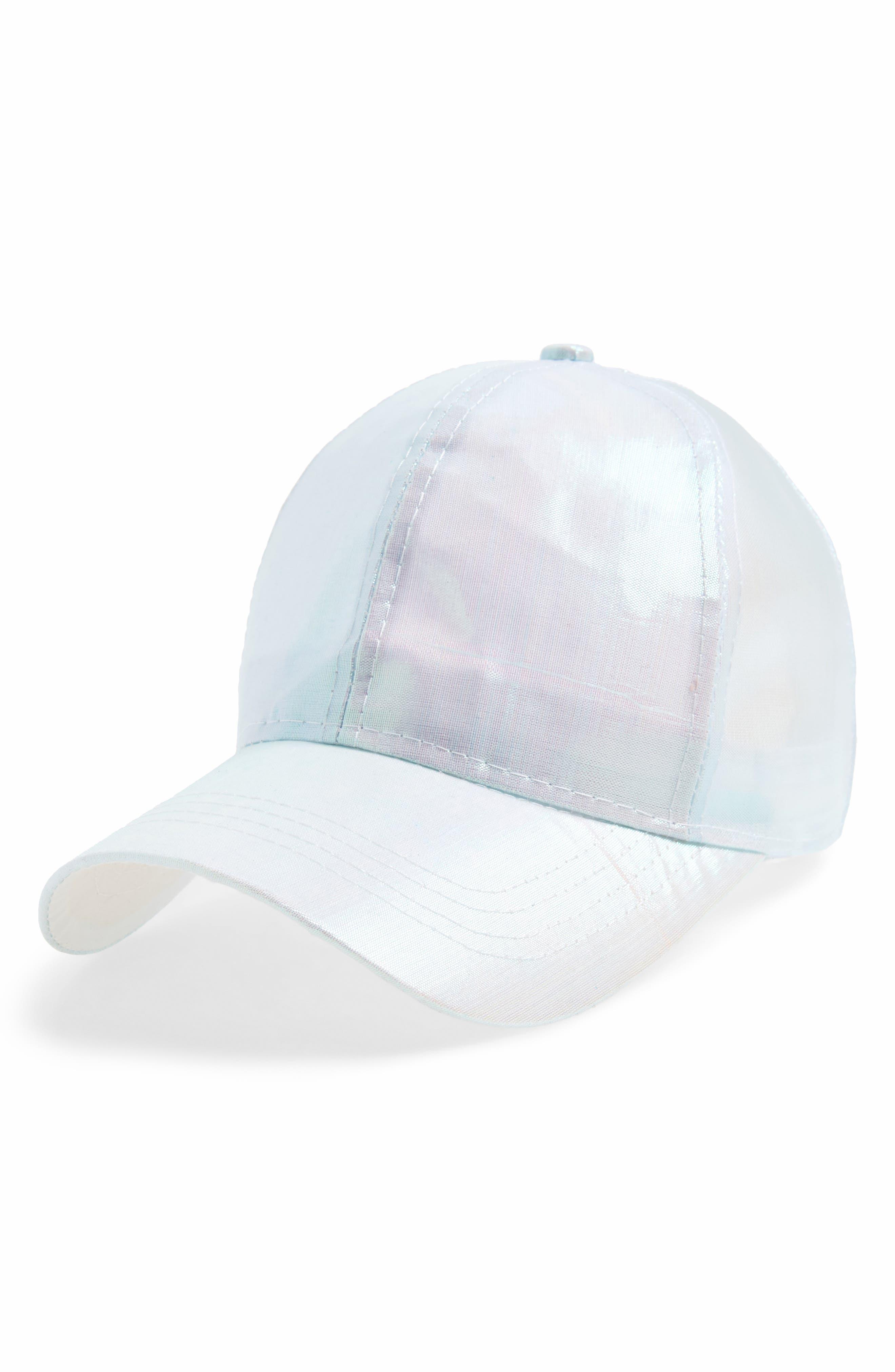 Cara Iridescent Ball Cap,                             Main thumbnail 1, color,                             Blue Irridescant