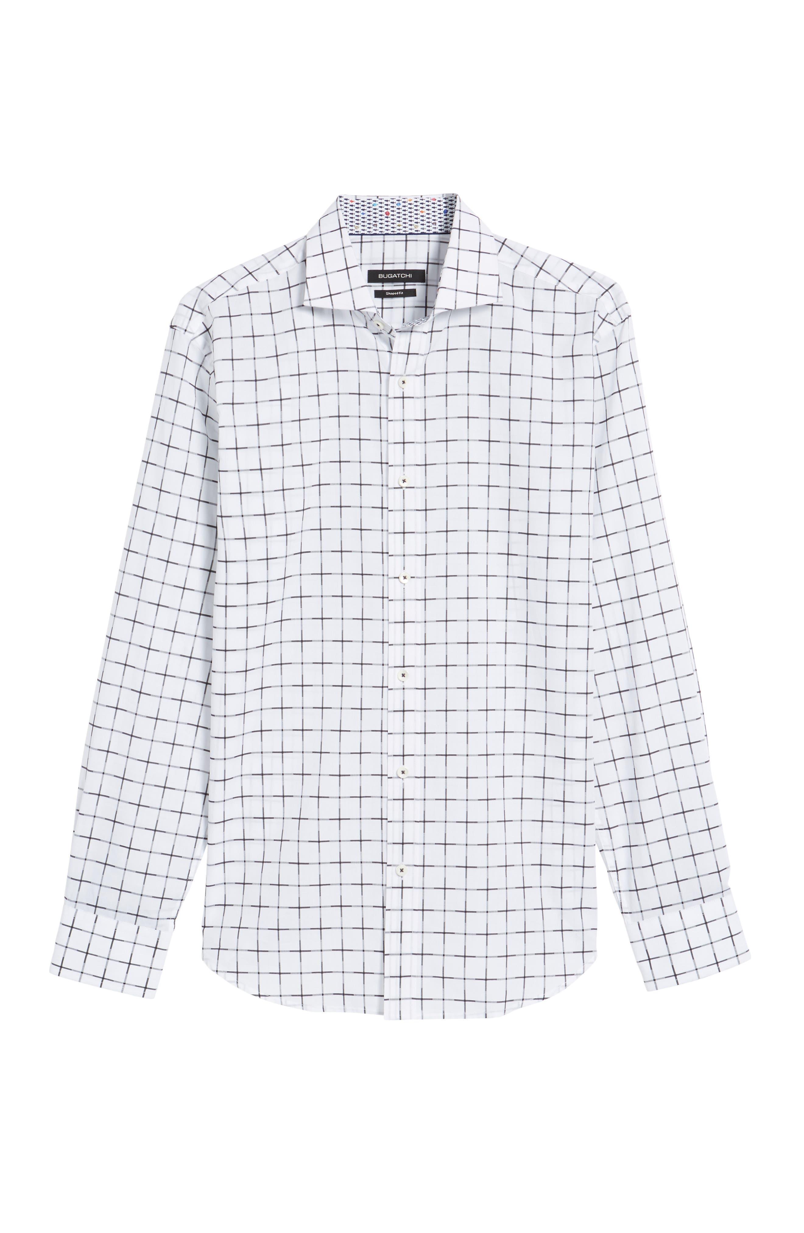 Shaped Fit Print Sport Shirt,                             Alternate thumbnail 6, color,                             White