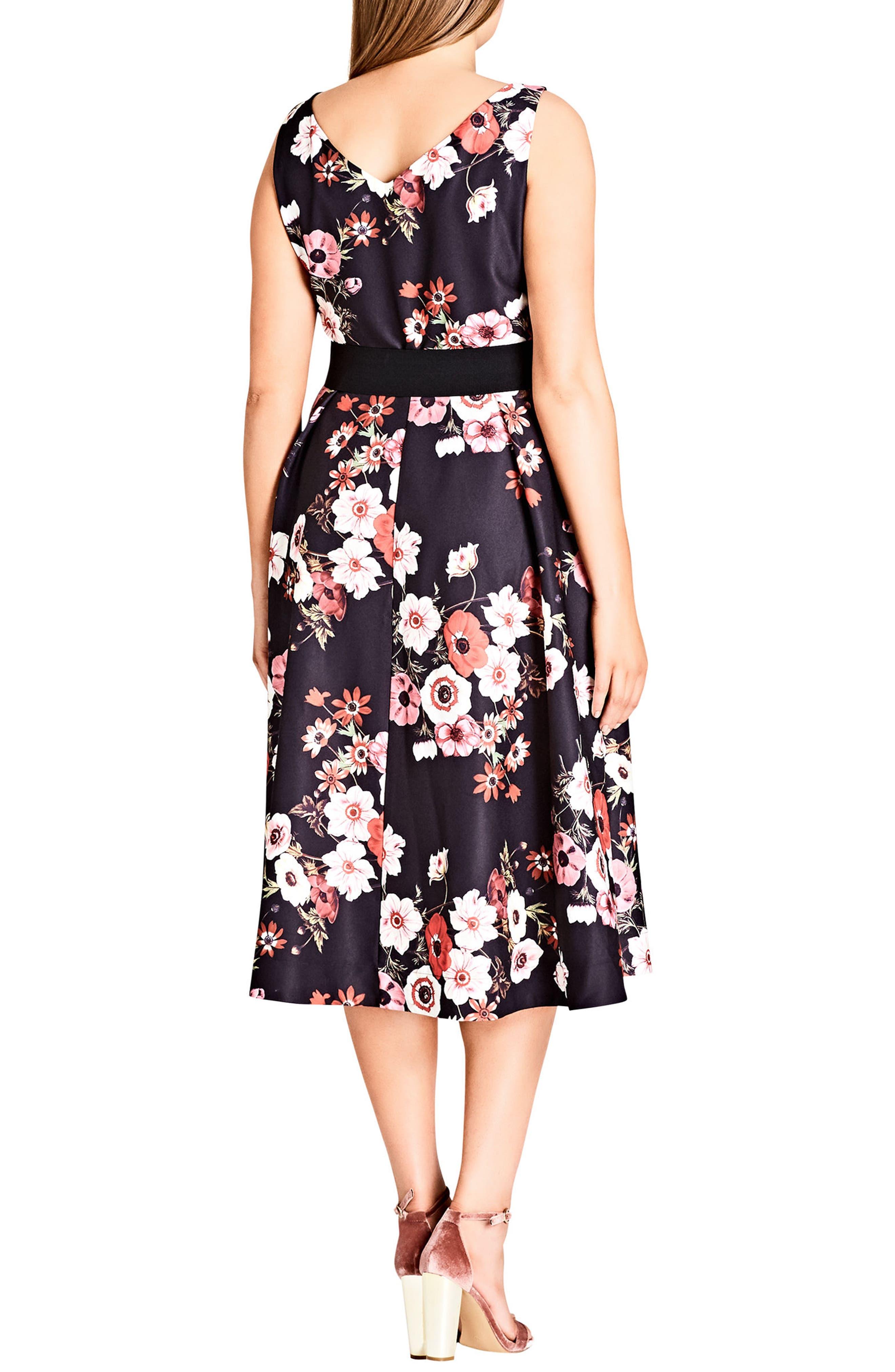 Poppy Bloom Fit & Flare Dress,                             Alternate thumbnail 2, color,                             Black