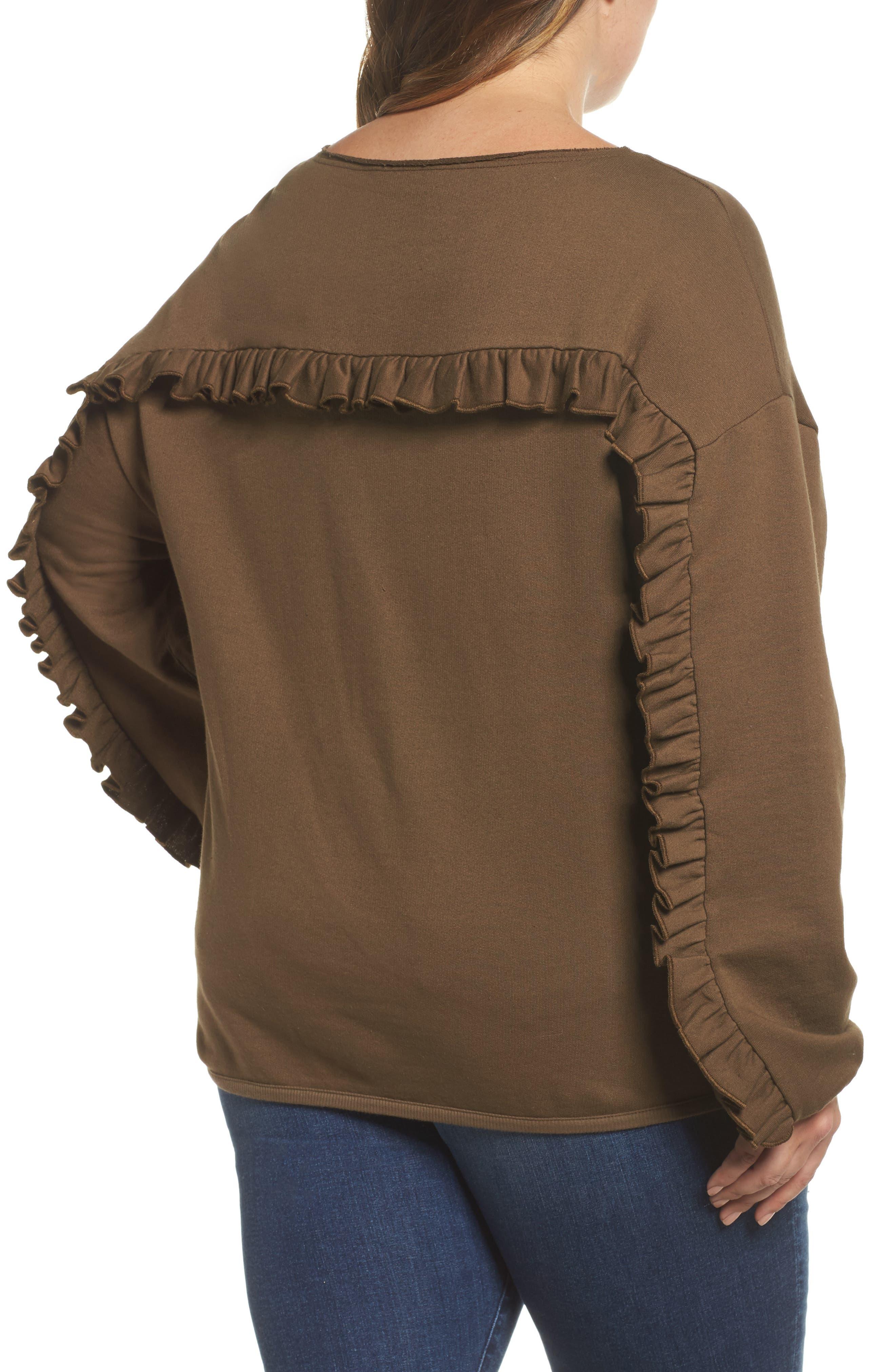 Ruffle Sleeve Sweatshirt,                             Alternate thumbnail 2, color,                             Tree Moss