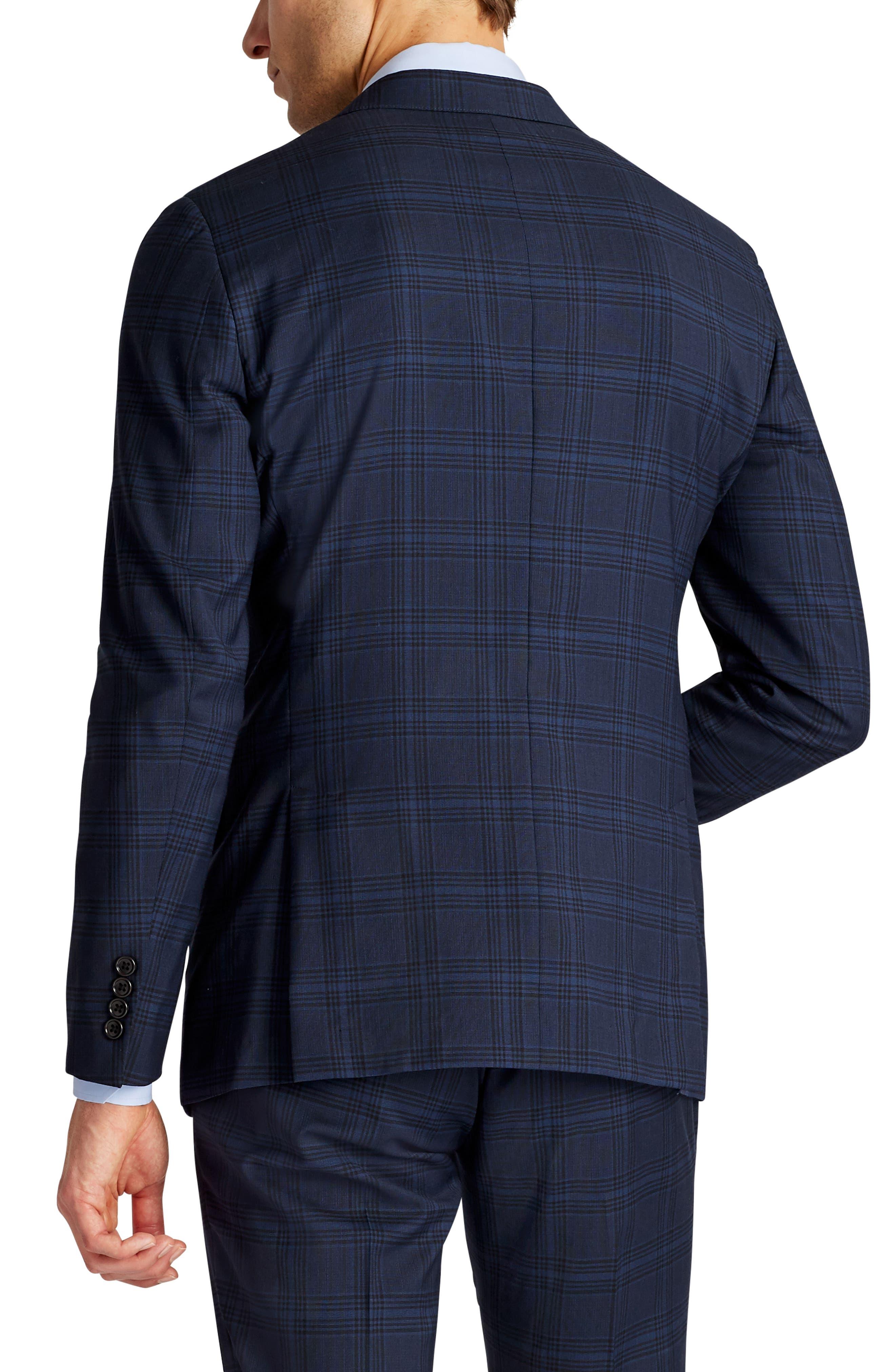 Jetsetter Trim Fit Stretch Plaid Wool Blend Suit Jacket,                             Alternate thumbnail 2, color,                             Navy Plaid