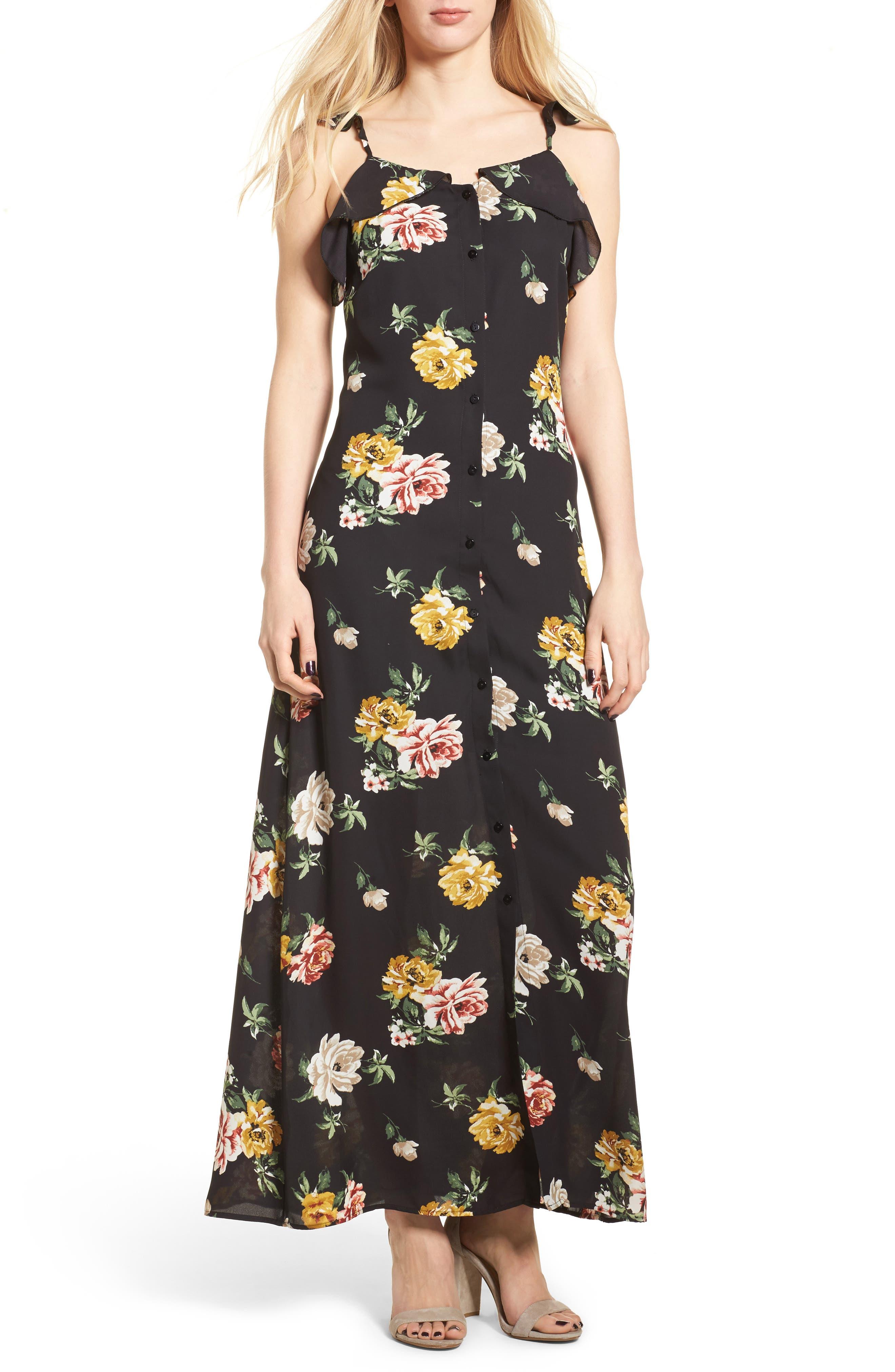 Floral Ruffle Strap Maxi Dress,                             Main thumbnail 1, color,                             Black Large Floral Print