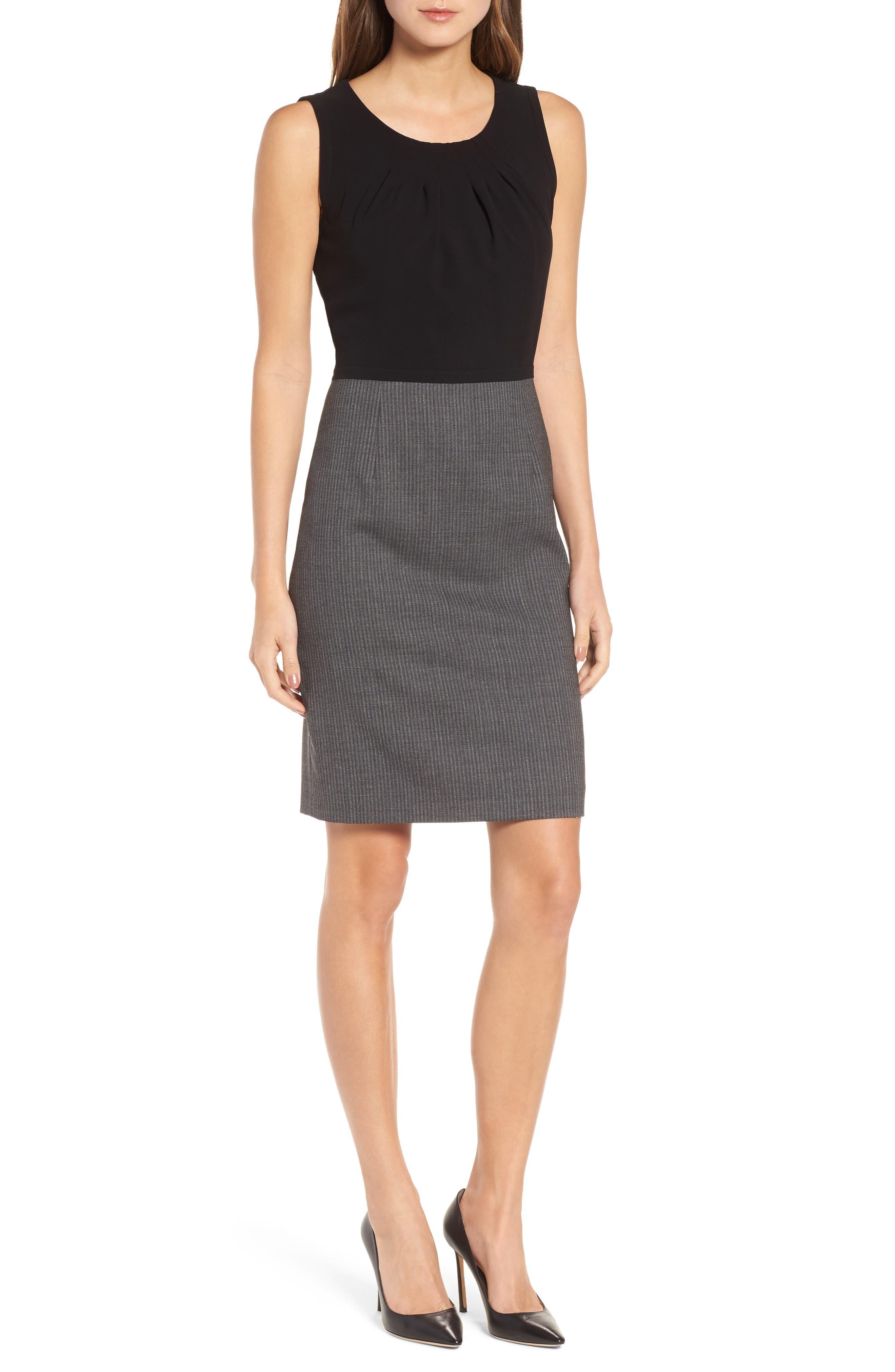 Main Image - BOSS Dirini Two-Tone Wool Sheath Dress