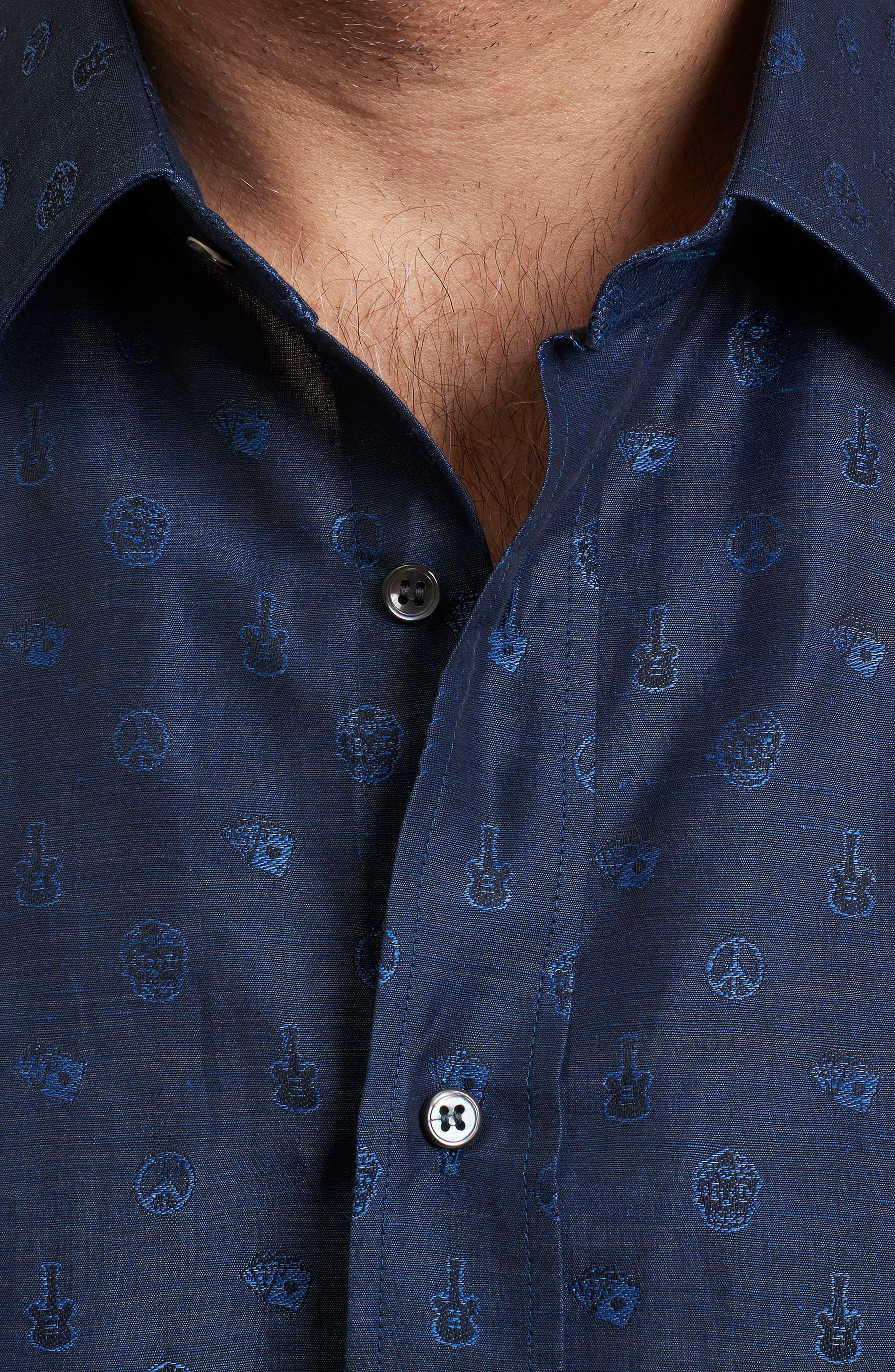 Amusement Regular Fit Embroidered Sport Shirt,                             Alternate thumbnail 4, color,                             Navy