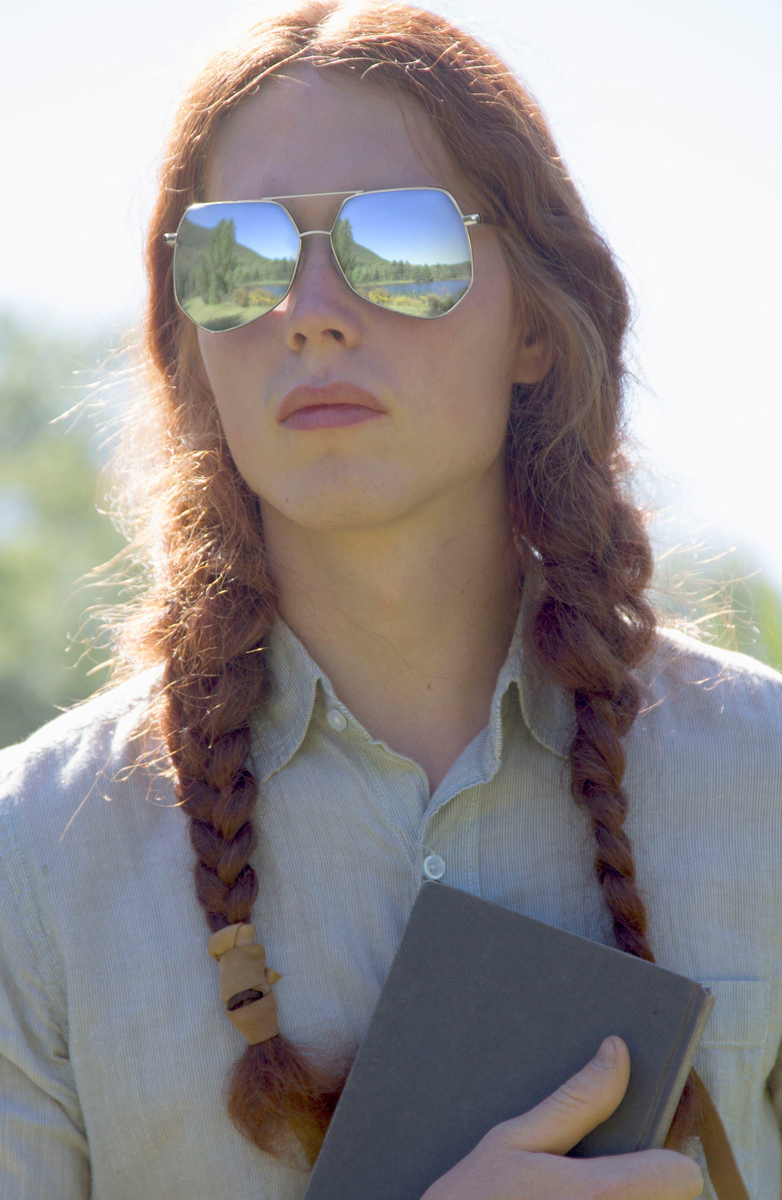Megalast Flat 61mm Sunglasses,                             Alternate thumbnail 4, color,                             Copper Pink / Light Blue