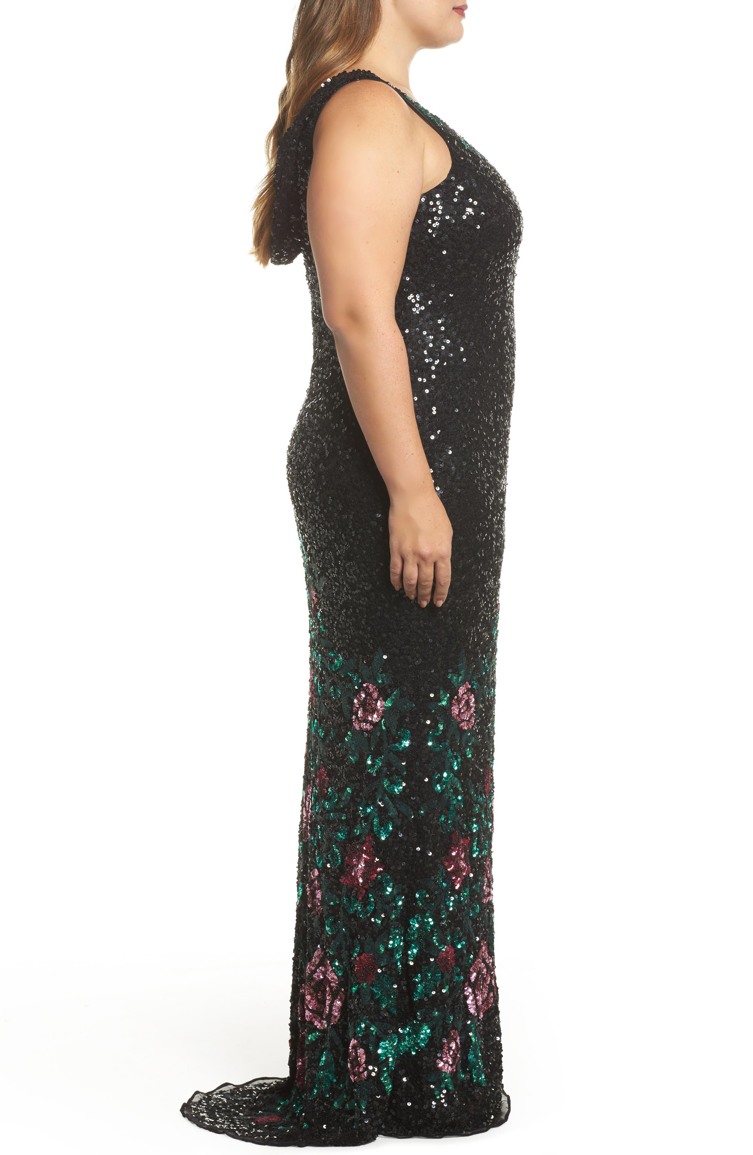 Floral Sequin A-Line Gown,                             Alternate thumbnail 3, color,                             Black/ Multi