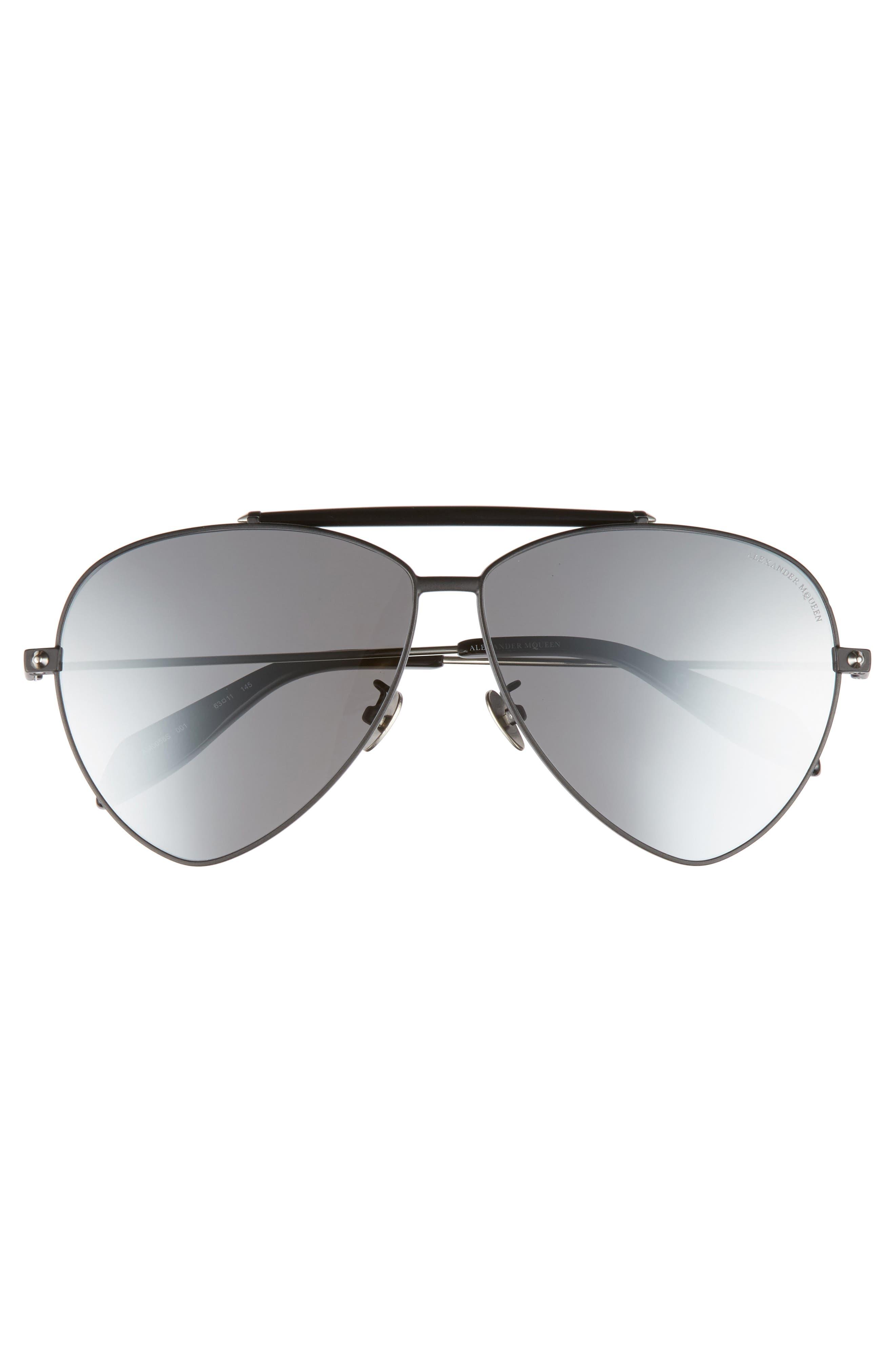 63mm Oversize Aviator Sunglasses,                             Alternate thumbnail 3, color,                             Black