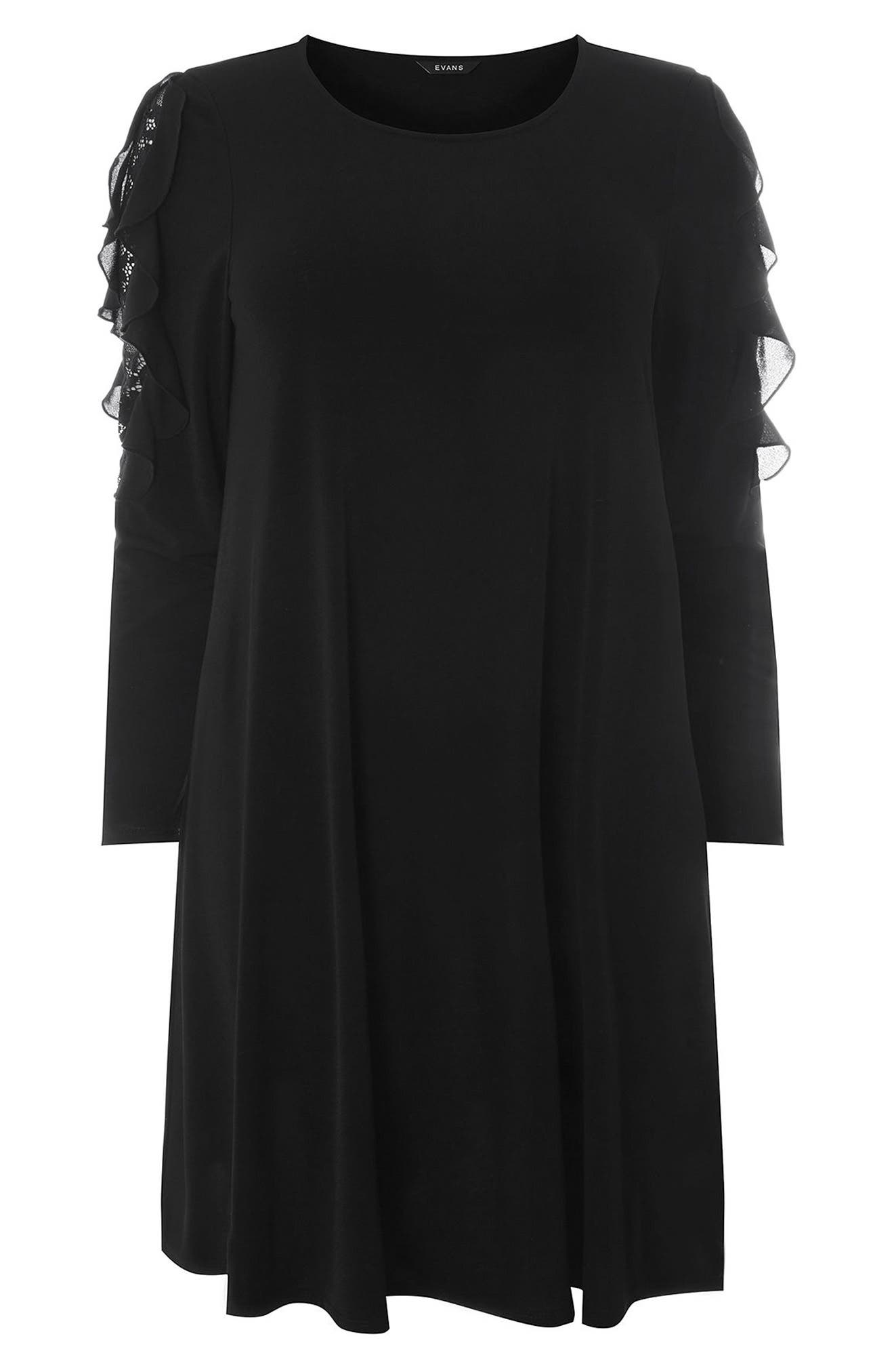 Lace Inset Shift Dress,                             Alternate thumbnail 5, color,                             Black
