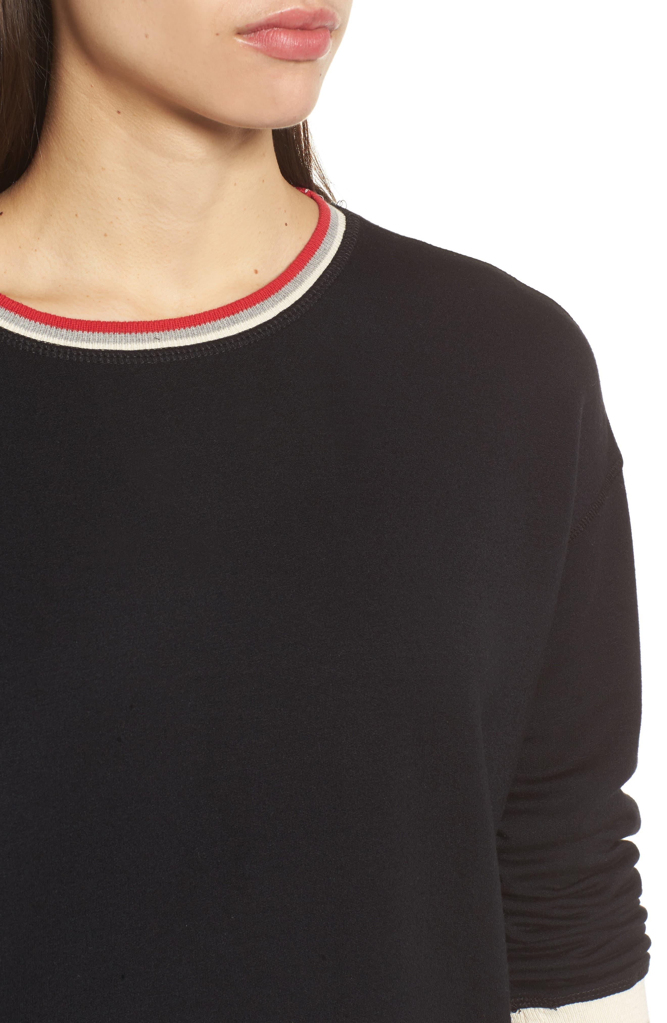 Stripe Trim Pullover,                             Alternate thumbnail 4, color,                             Black
