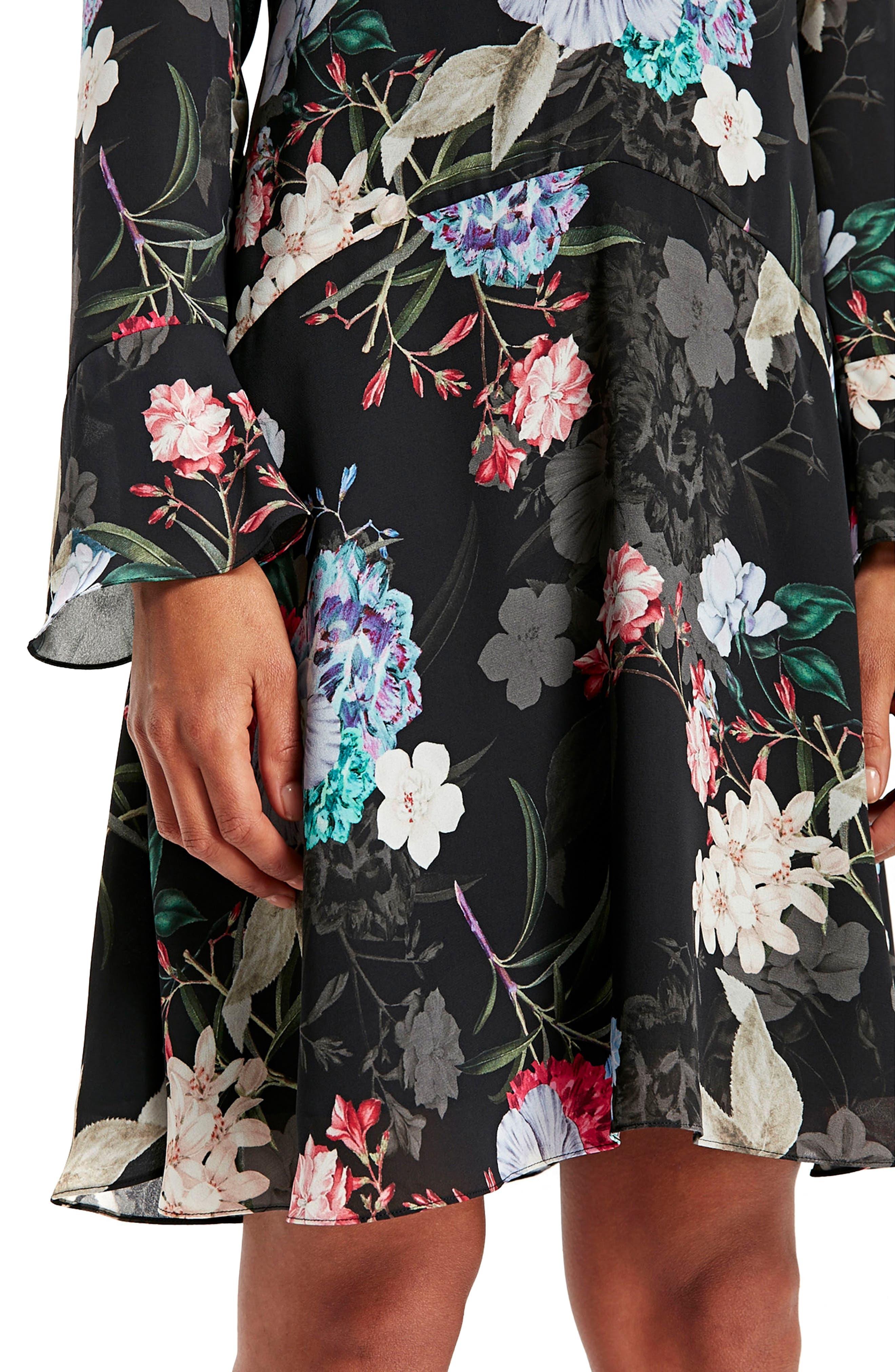 Drop Waist Floral Print Dress,                             Alternate thumbnail 4, color,                             Ink