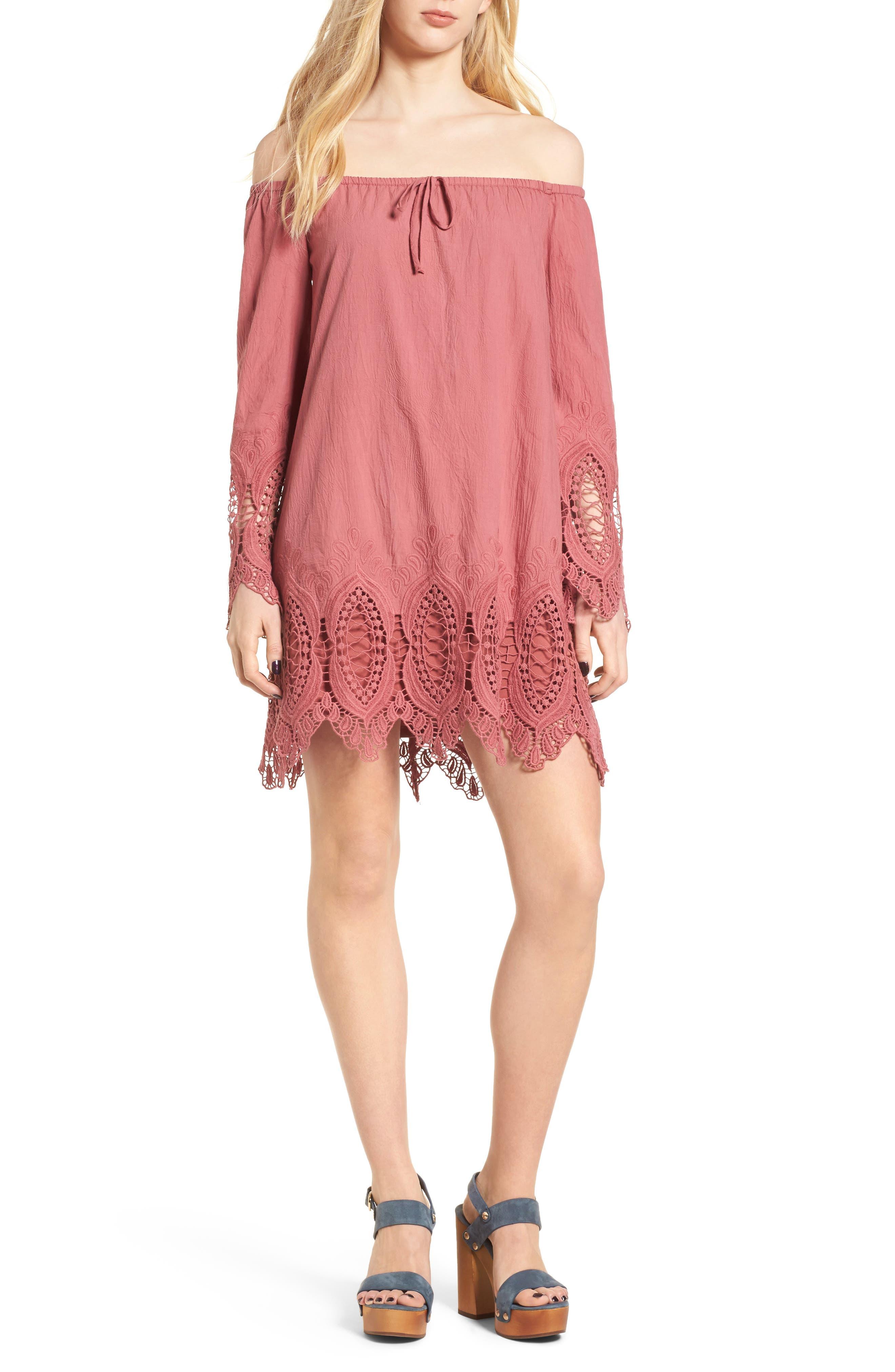 BP. Lace Trim Off the Shoulder Dress