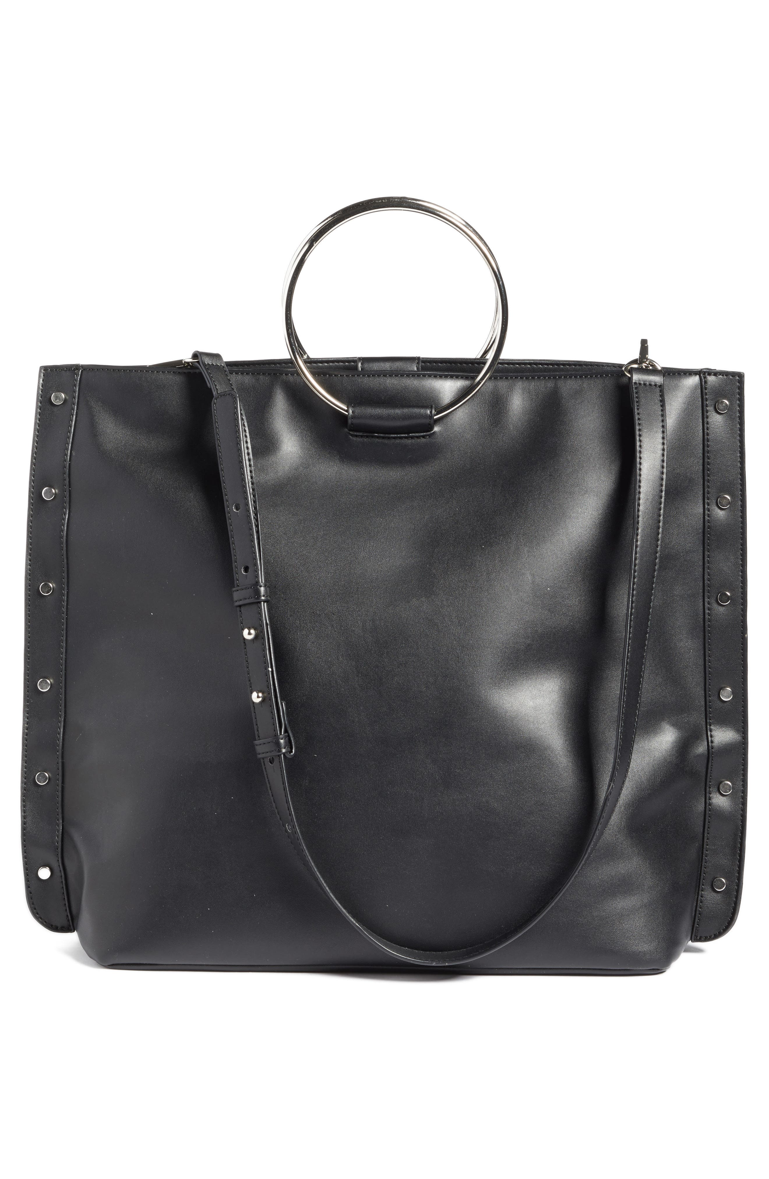 Ring Handle Faux Leather Tote,                             Alternate thumbnail 2, color,                             Black