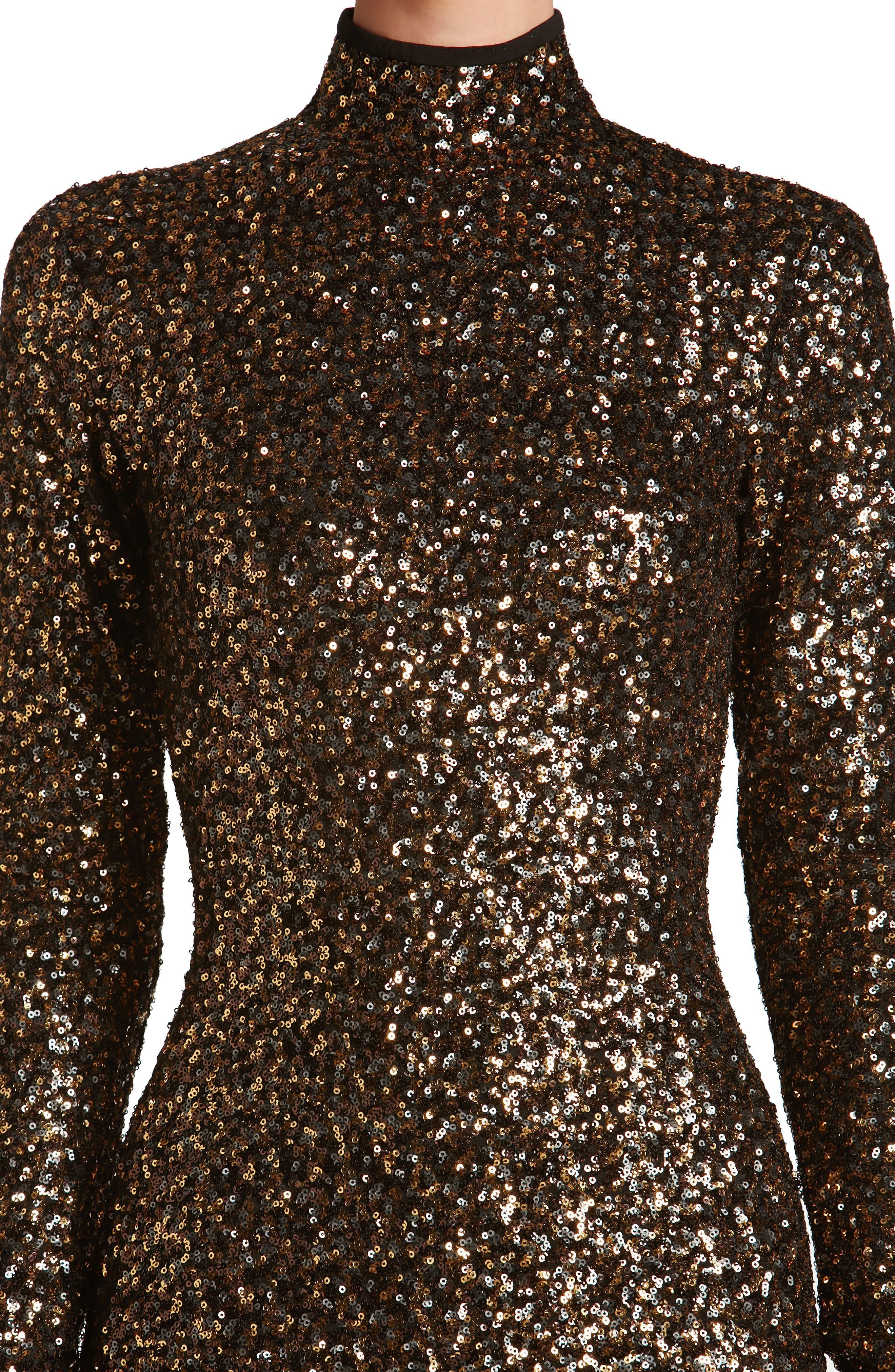 Janis Sequin Body-Con Dress,                             Alternate thumbnail 4, color,                             Antique Gold