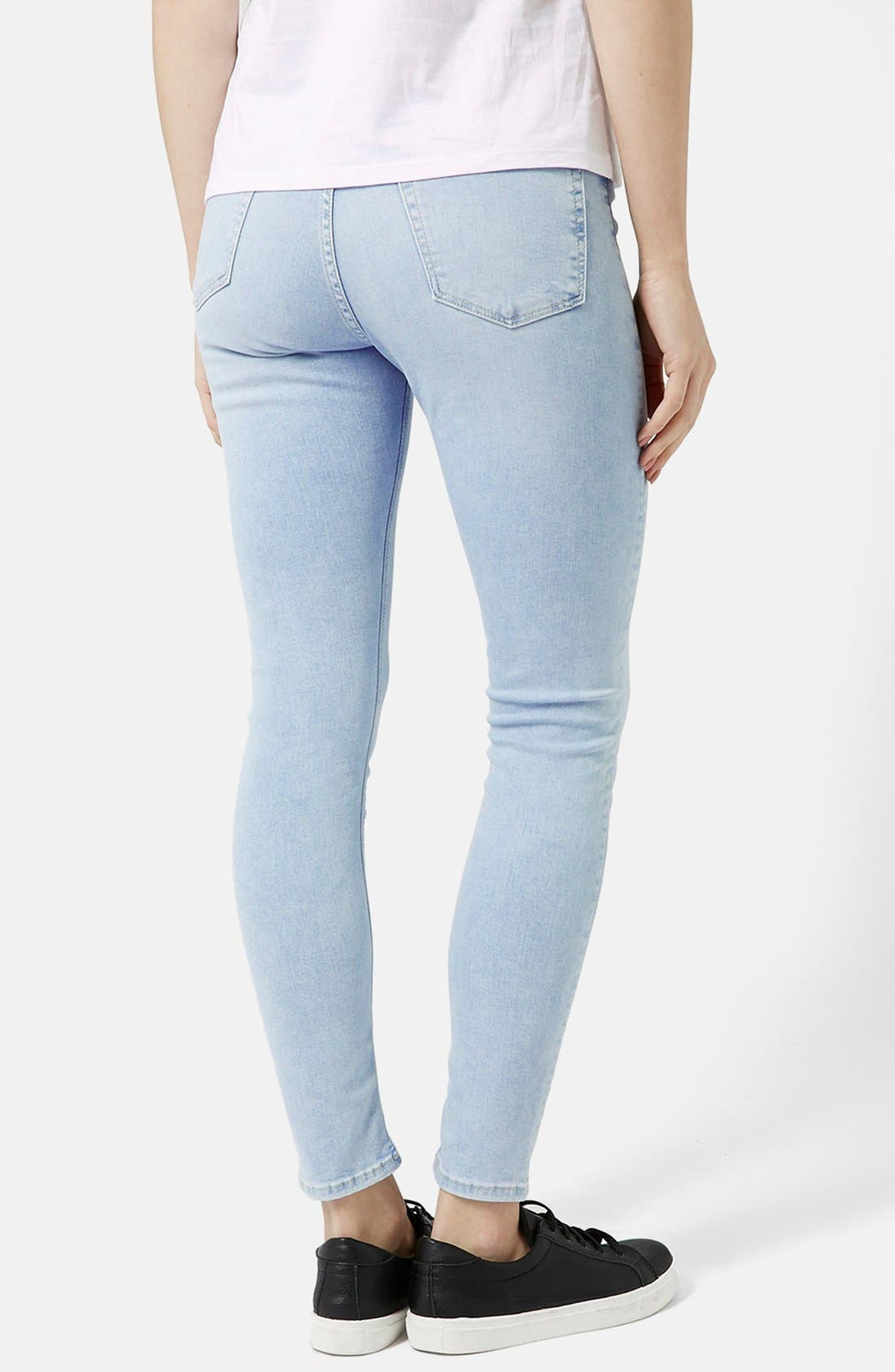 Alternate Image 2  - Topshop Moto 'Jamie' Bleached Skinny Jeans (Light Denim) (Regular & Short)