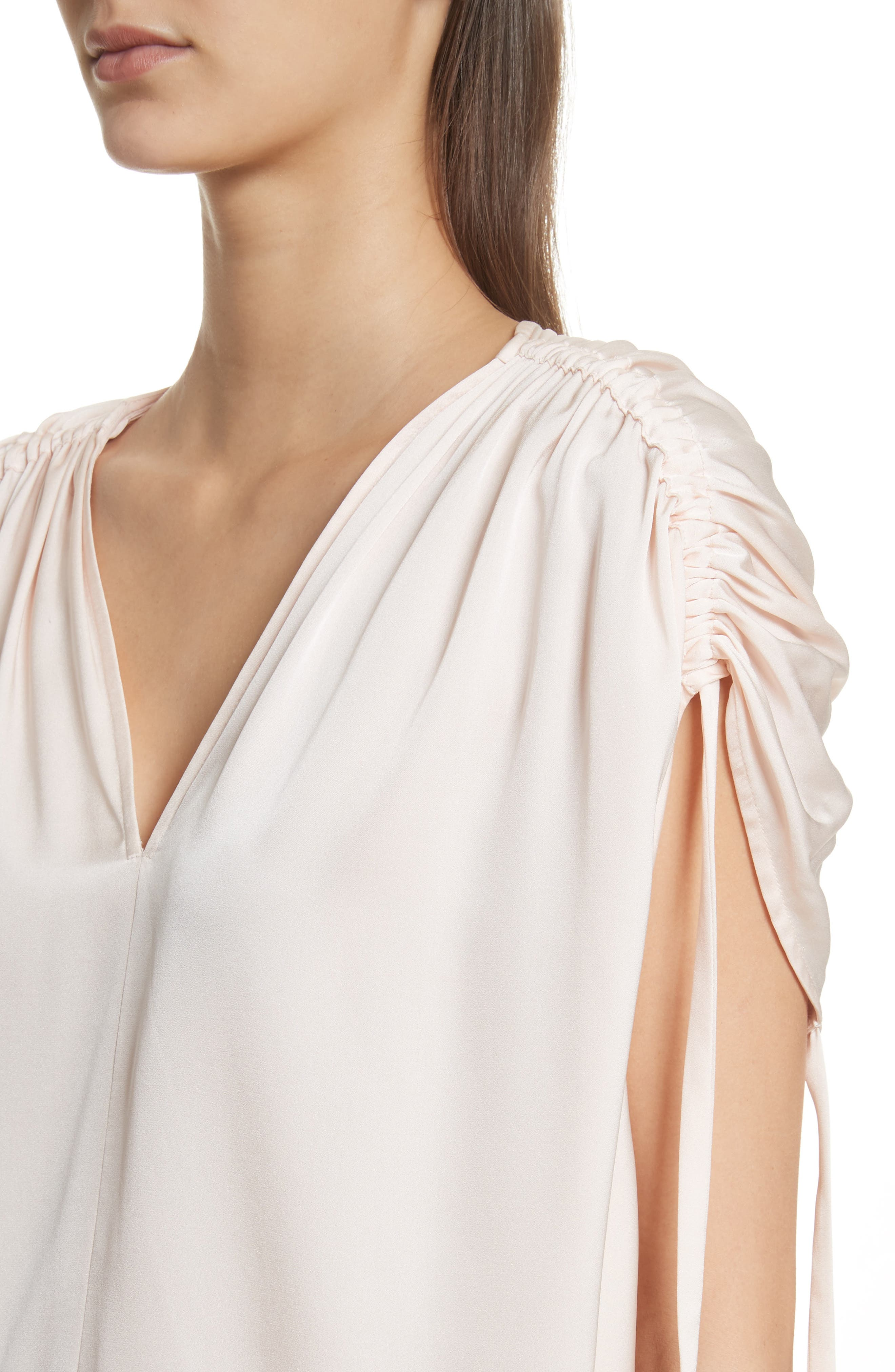 Ruched Silk Top,                             Alternate thumbnail 4, color,                             Rosewater