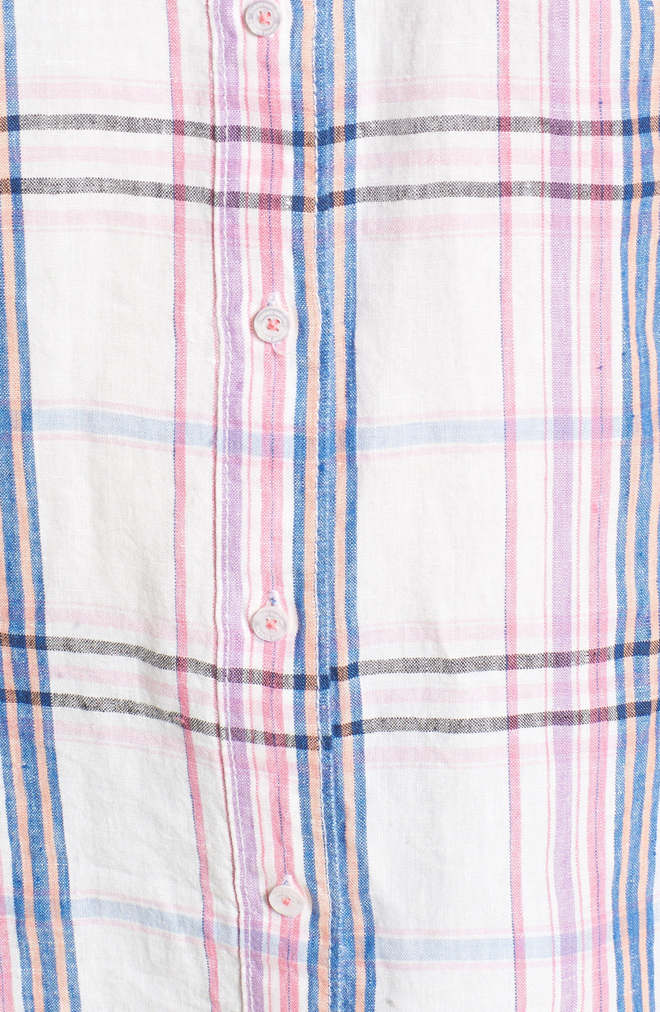 Palazzo Plaid Shirt,                             Alternate thumbnail 5, color,                             White