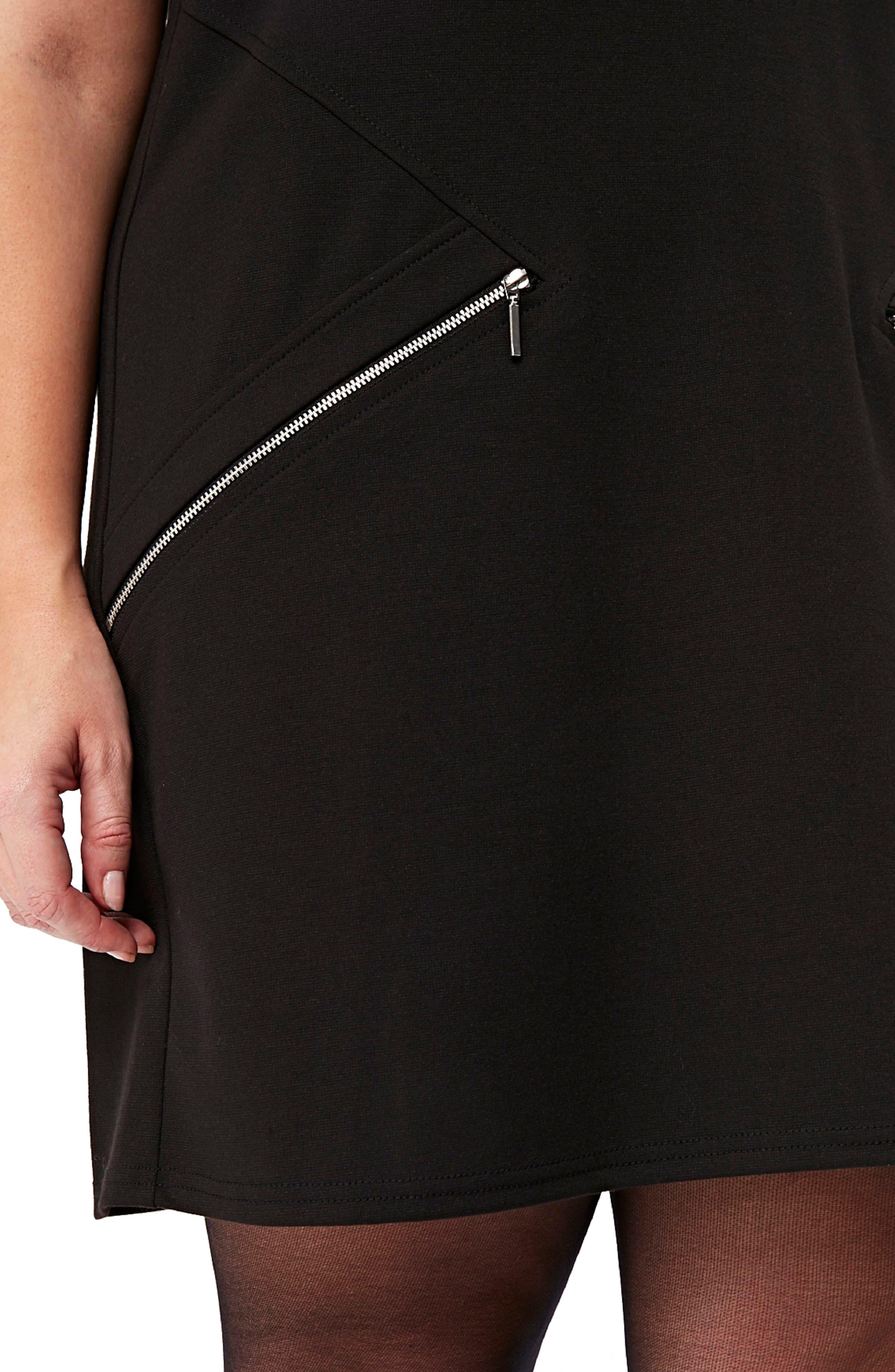 Ponte Knit Tunic Dress,                             Alternate thumbnail 3, color,                             Black