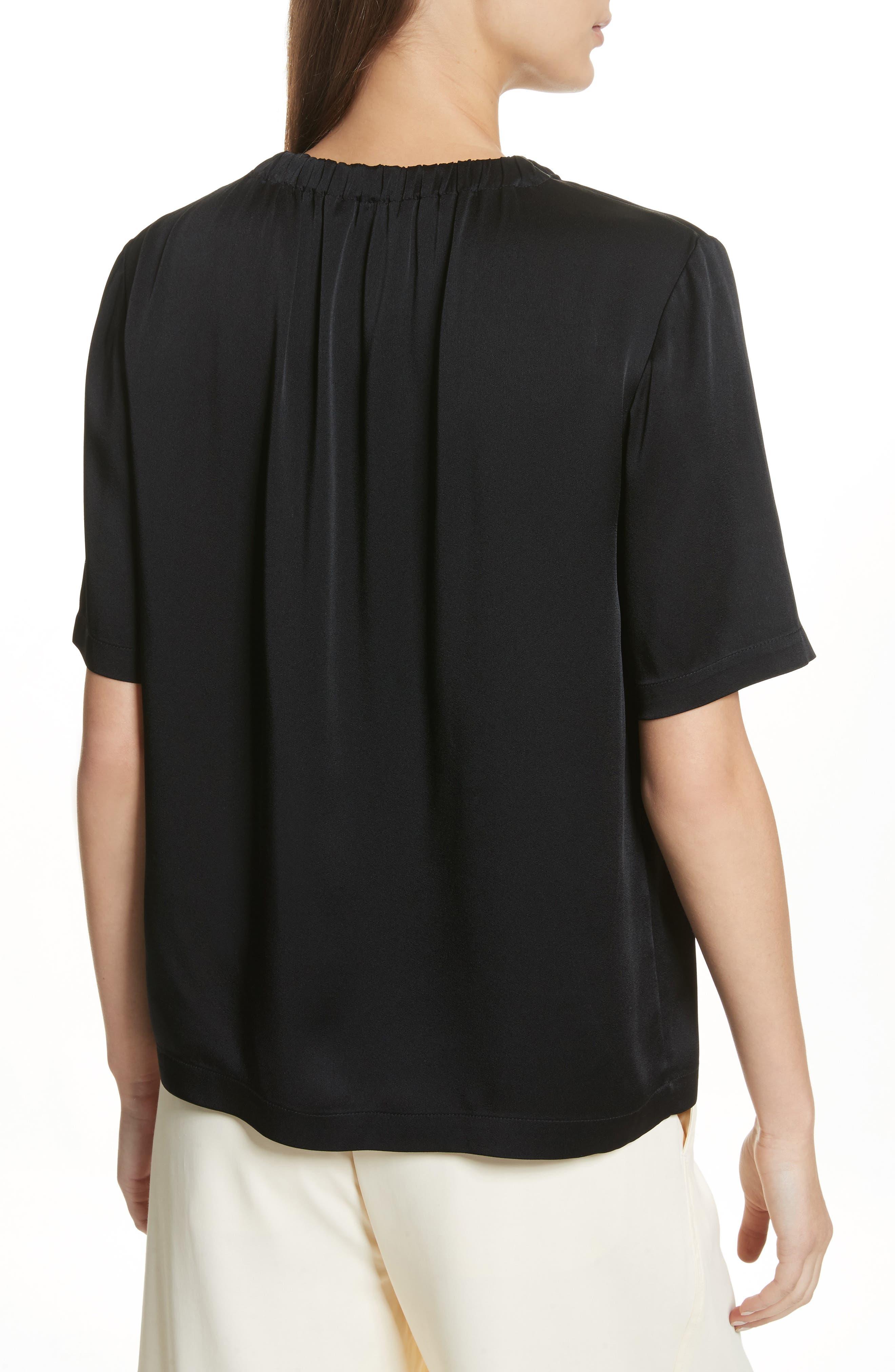 Gathered Neck Short Sleeve Top,                             Alternate thumbnail 2, color,                             Black