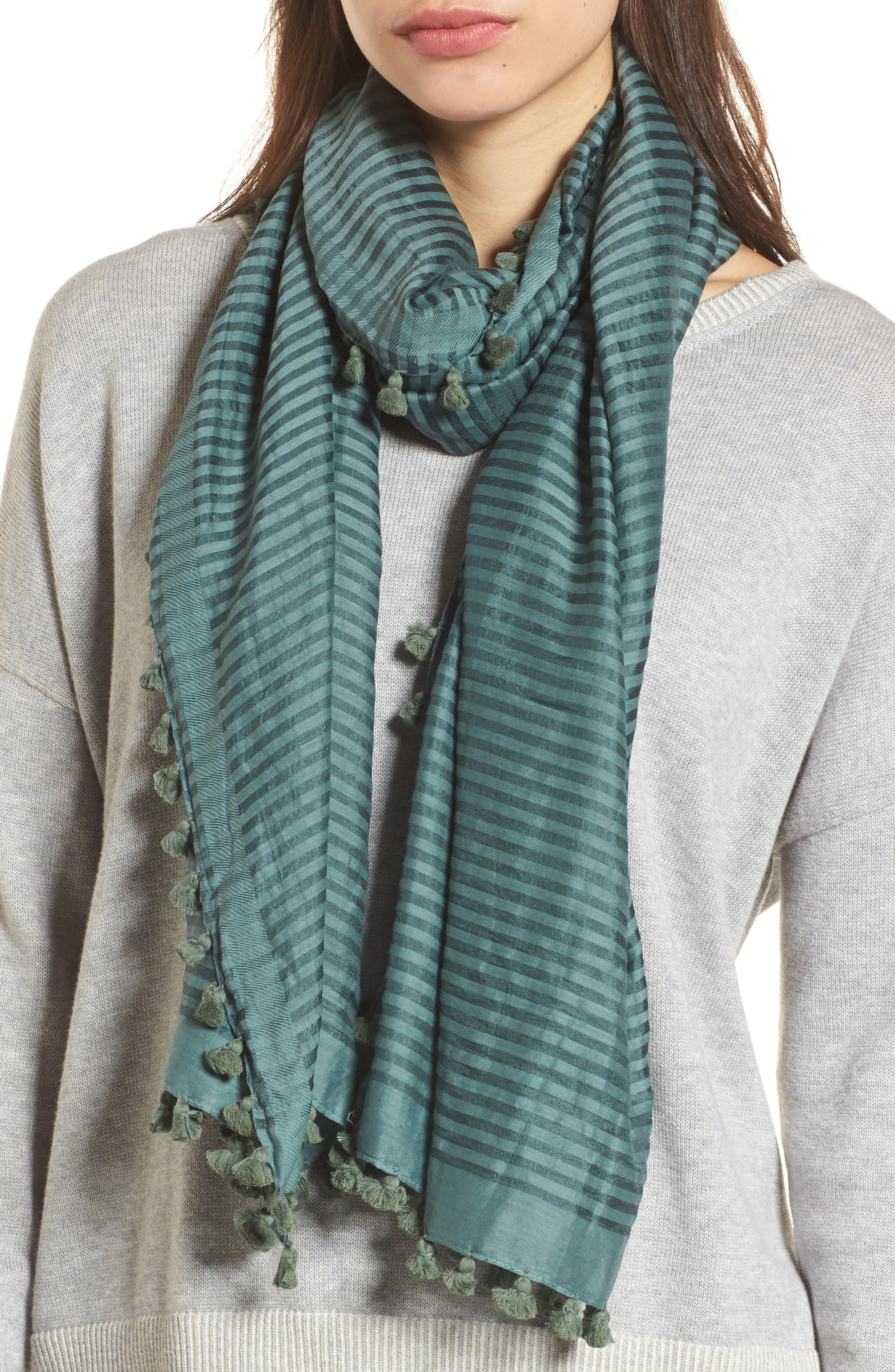 Stripe Cotton & Silk Scarf,                             Main thumbnail 1, color,                             Dragonfly