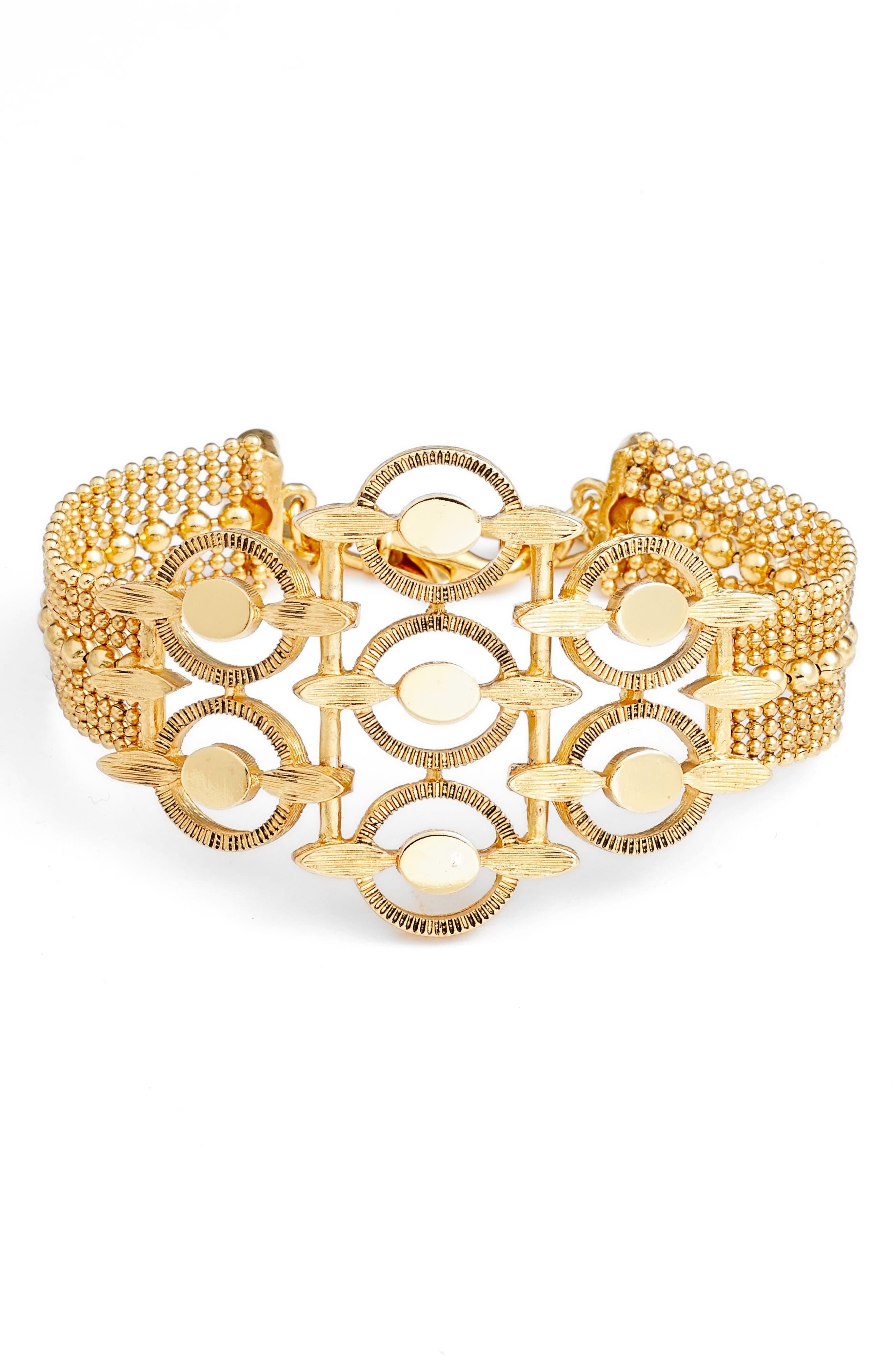 Multirow Station Bracelet,                         Main,                         color, Gold