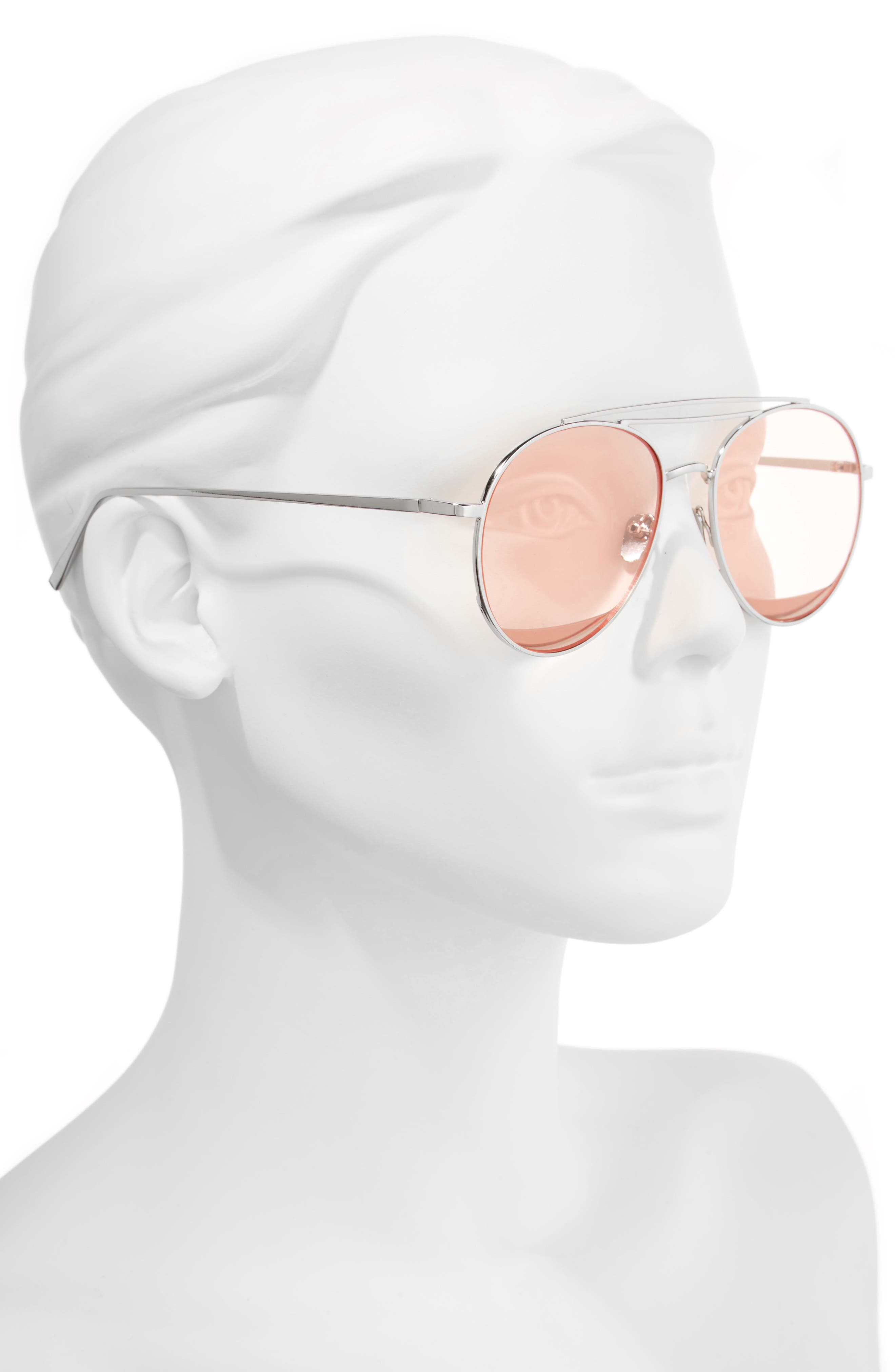The Maddox 62mm Rimless Aviator Sunglasses,                             Alternate thumbnail 2, color,                             Pink