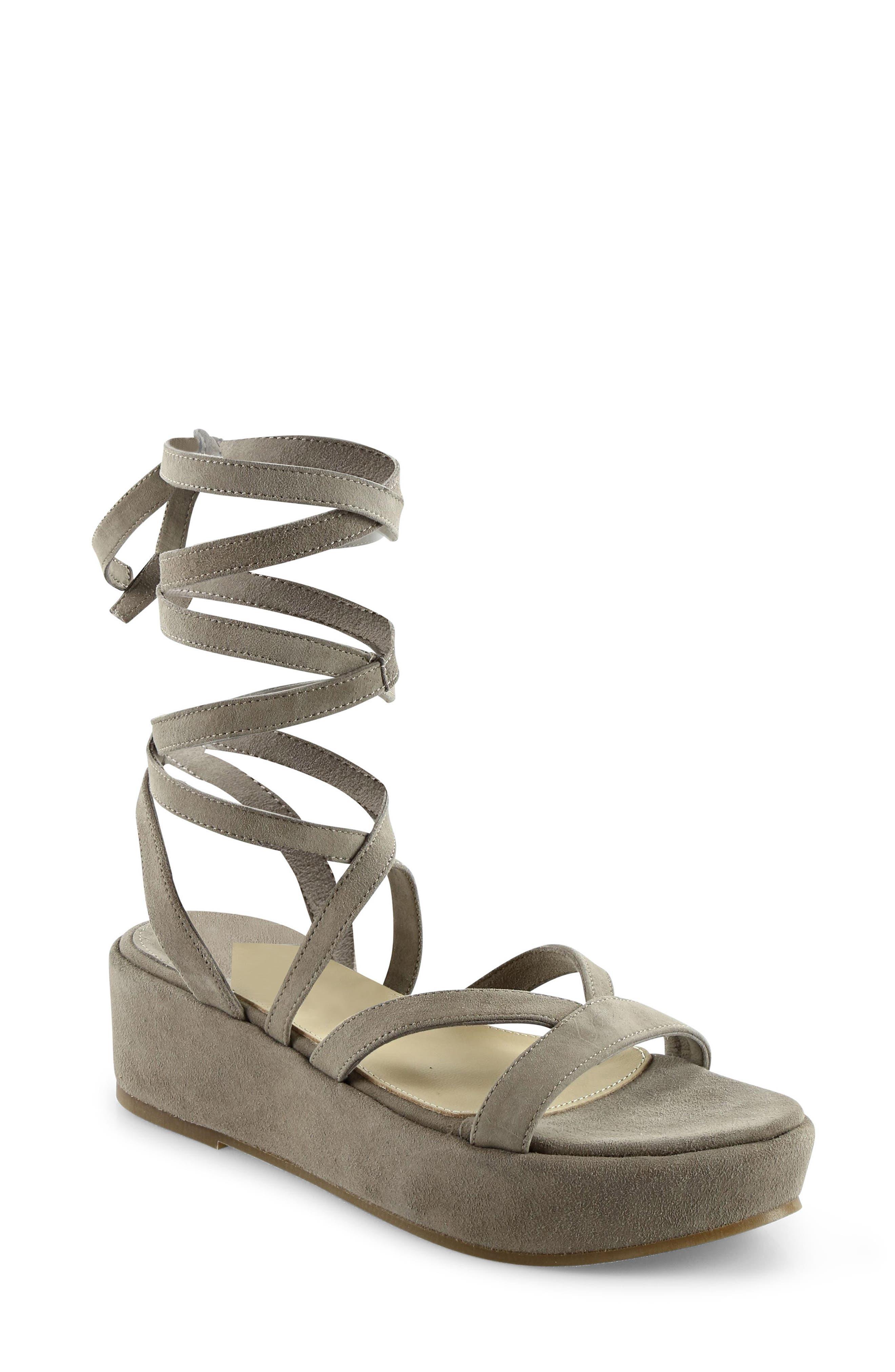 Keri Gladiator Platform Sandal,                         Main,                         color, Camel Suede