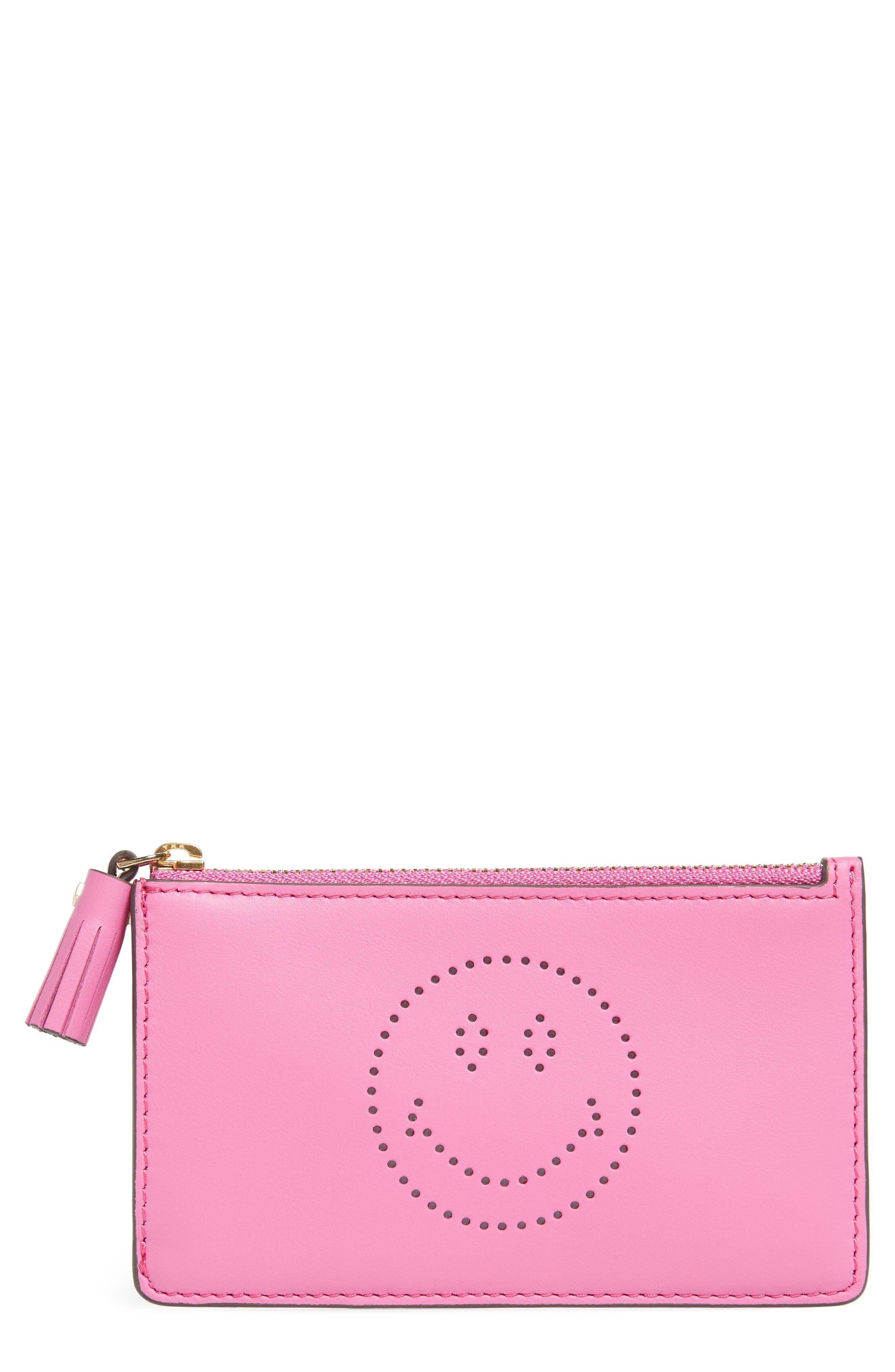 Smiley Leather Card Case,                             Main thumbnail 1, color,                             Bubblegum