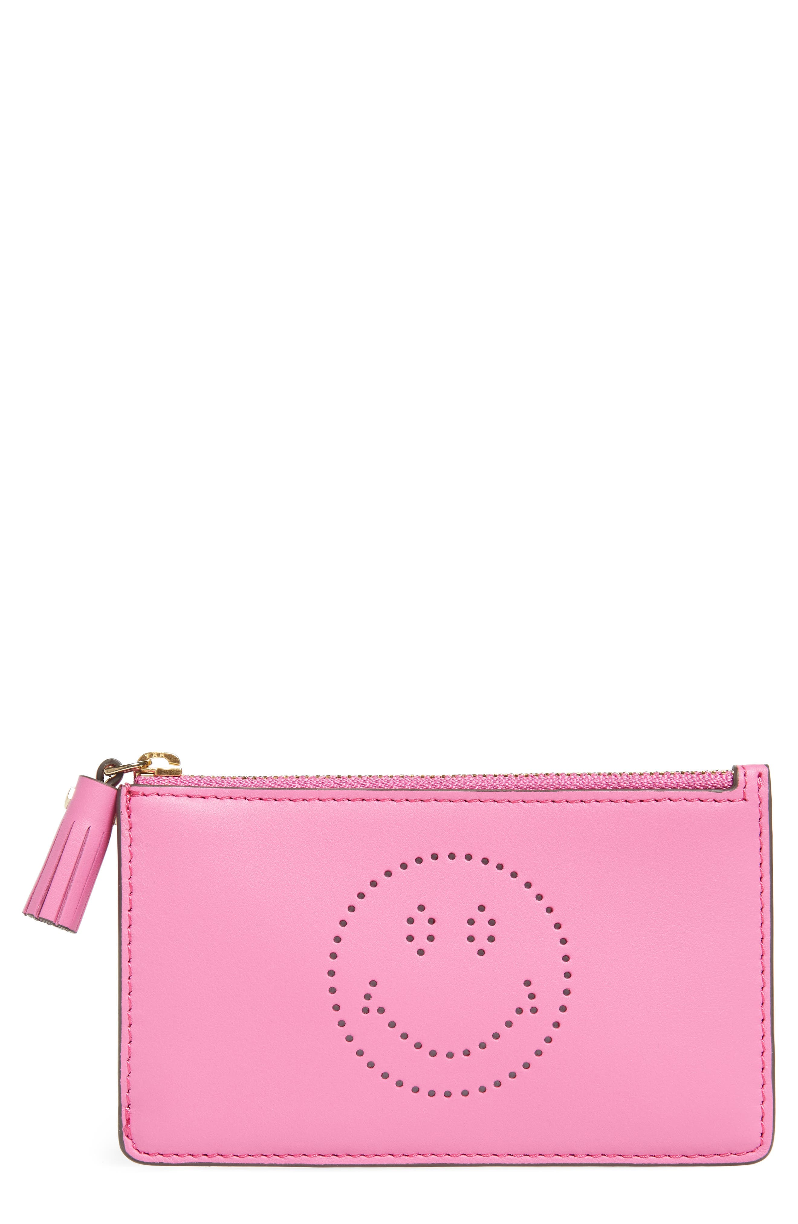 Smiley Leather Card Case,                         Main,                         color, Bubblegum