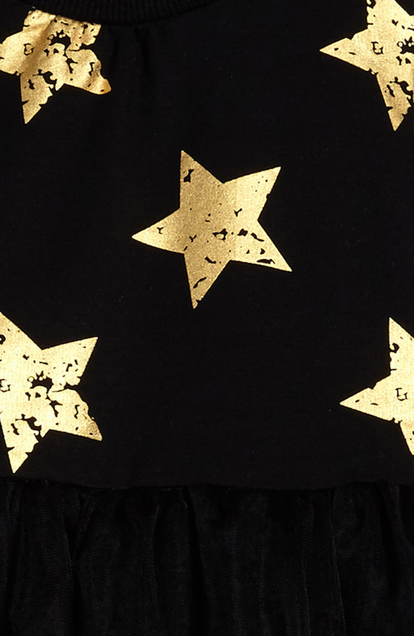 Star Tulle Party Dress,                             Alternate thumbnail 3, color,                             Black
