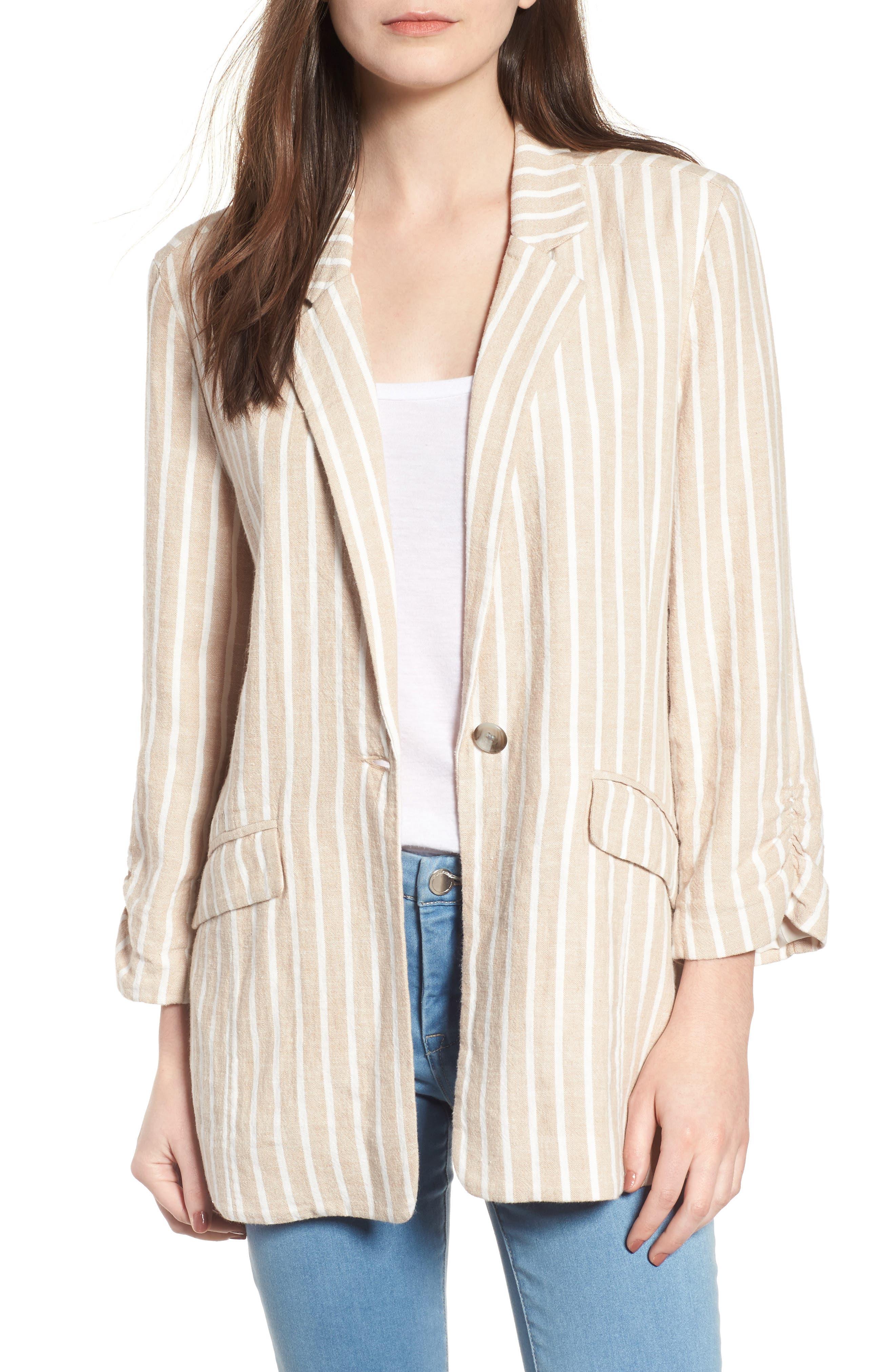Cinch Sleeve Blazer,                             Main thumbnail 1, color,                             Tan Nomad Ella Linen Stripe