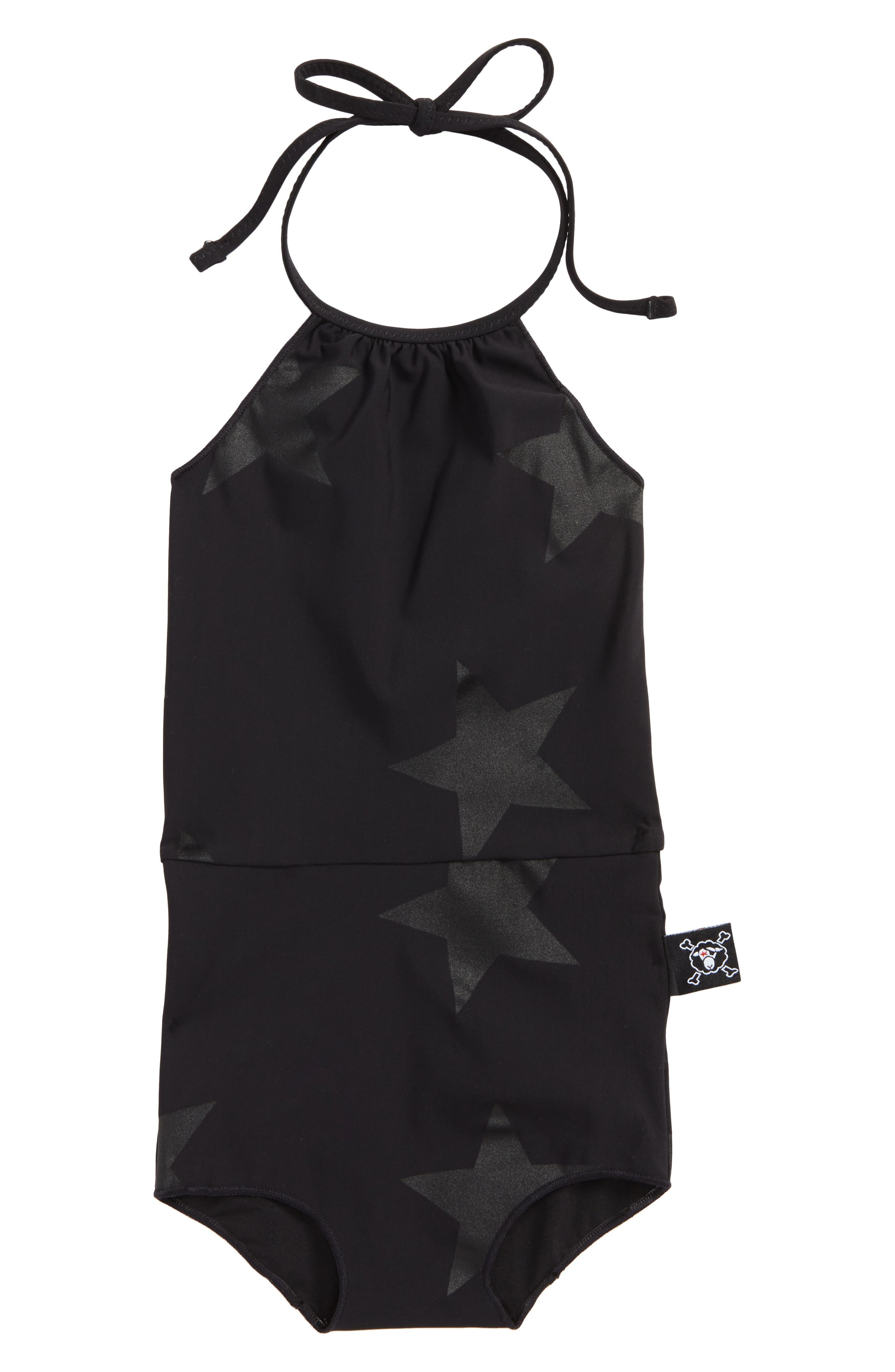 Star Print One-Piece Swimsuit,                             Main thumbnail 1, color,                             Black