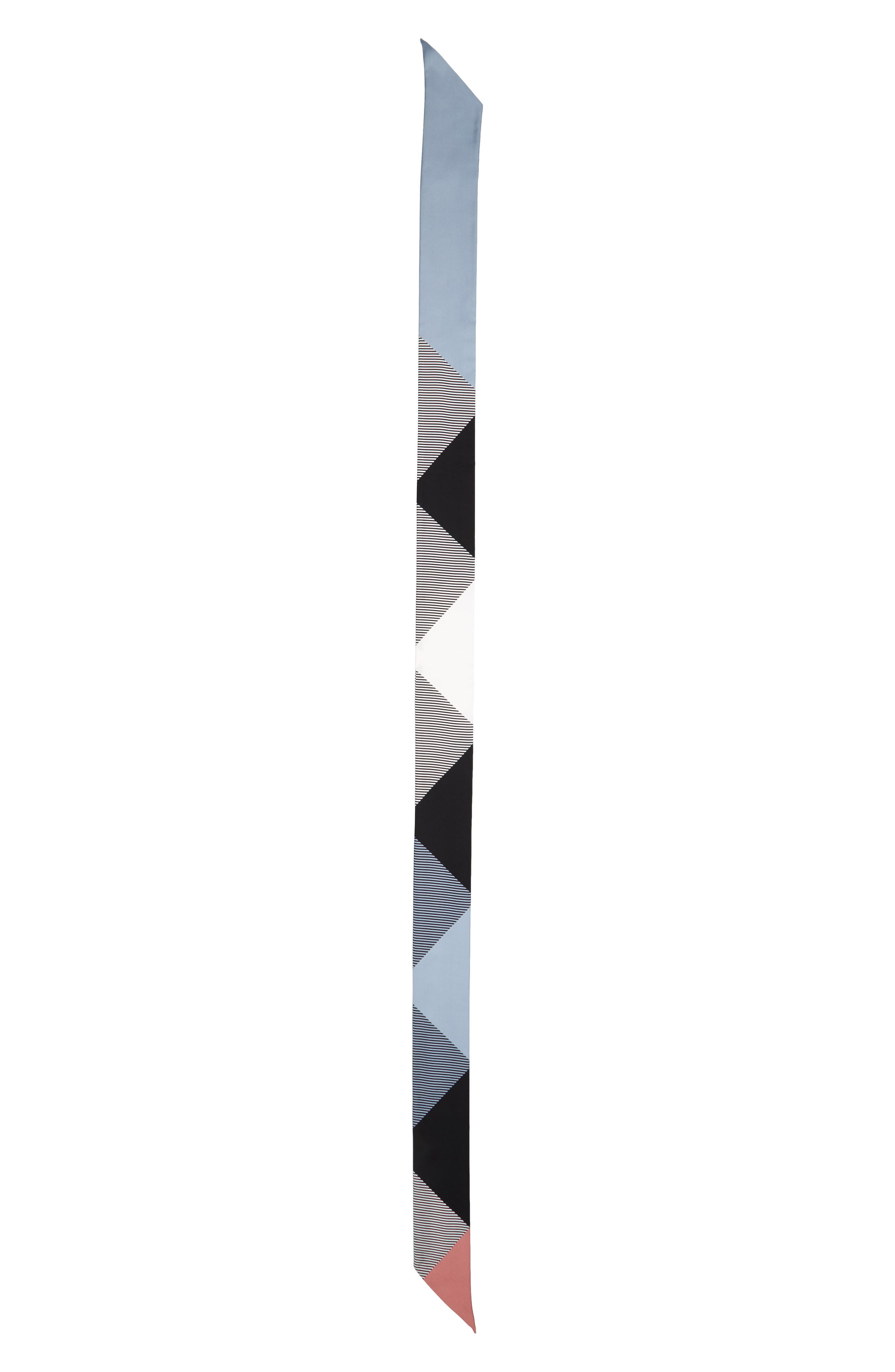 Mega Check Silk Skinny Scarf,                             Alternate thumbnail 2, color,                             Pale Bluebell