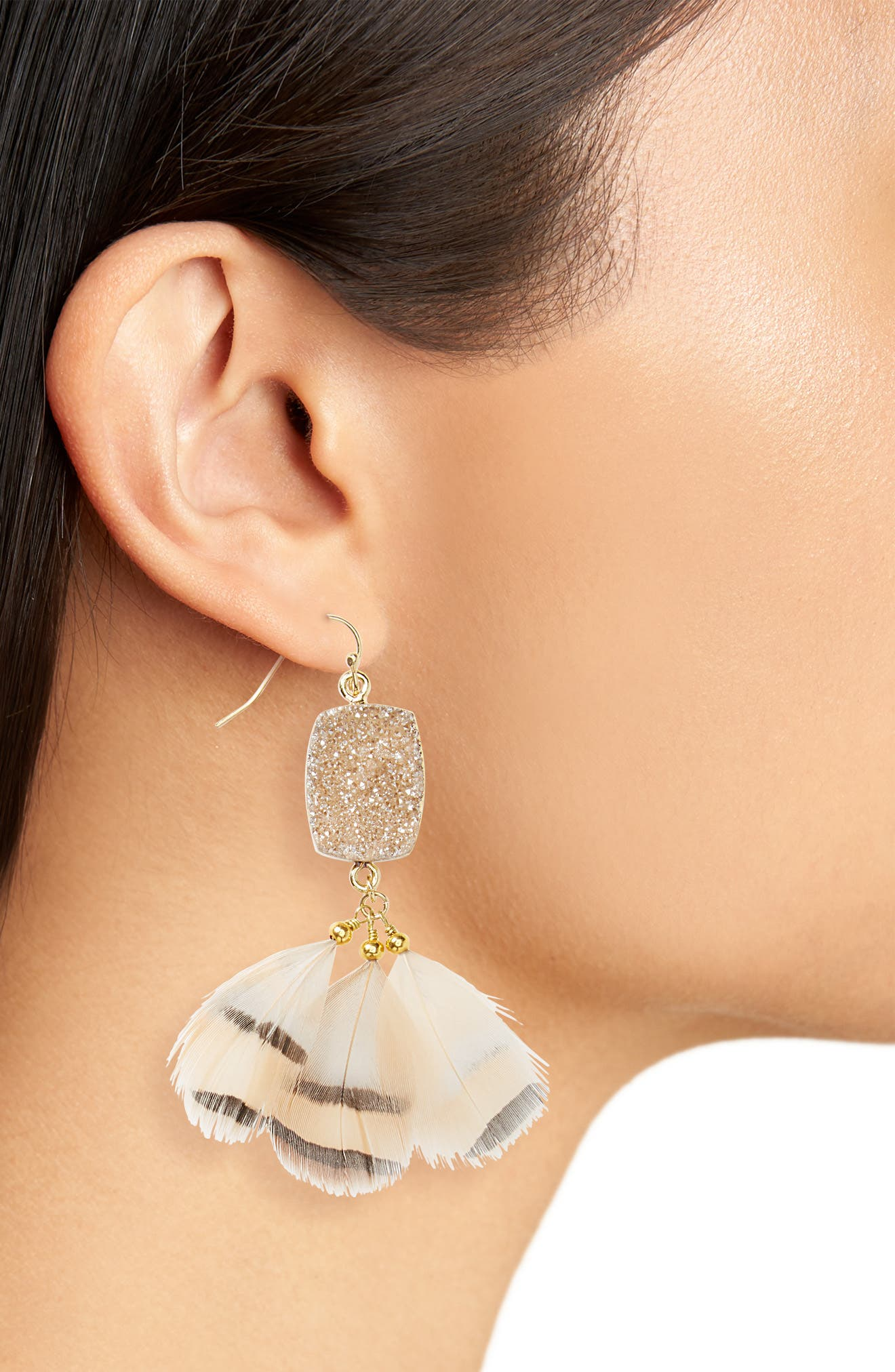 Drusy Feather Earrings,                             Alternate thumbnail 2, color,                             Peach