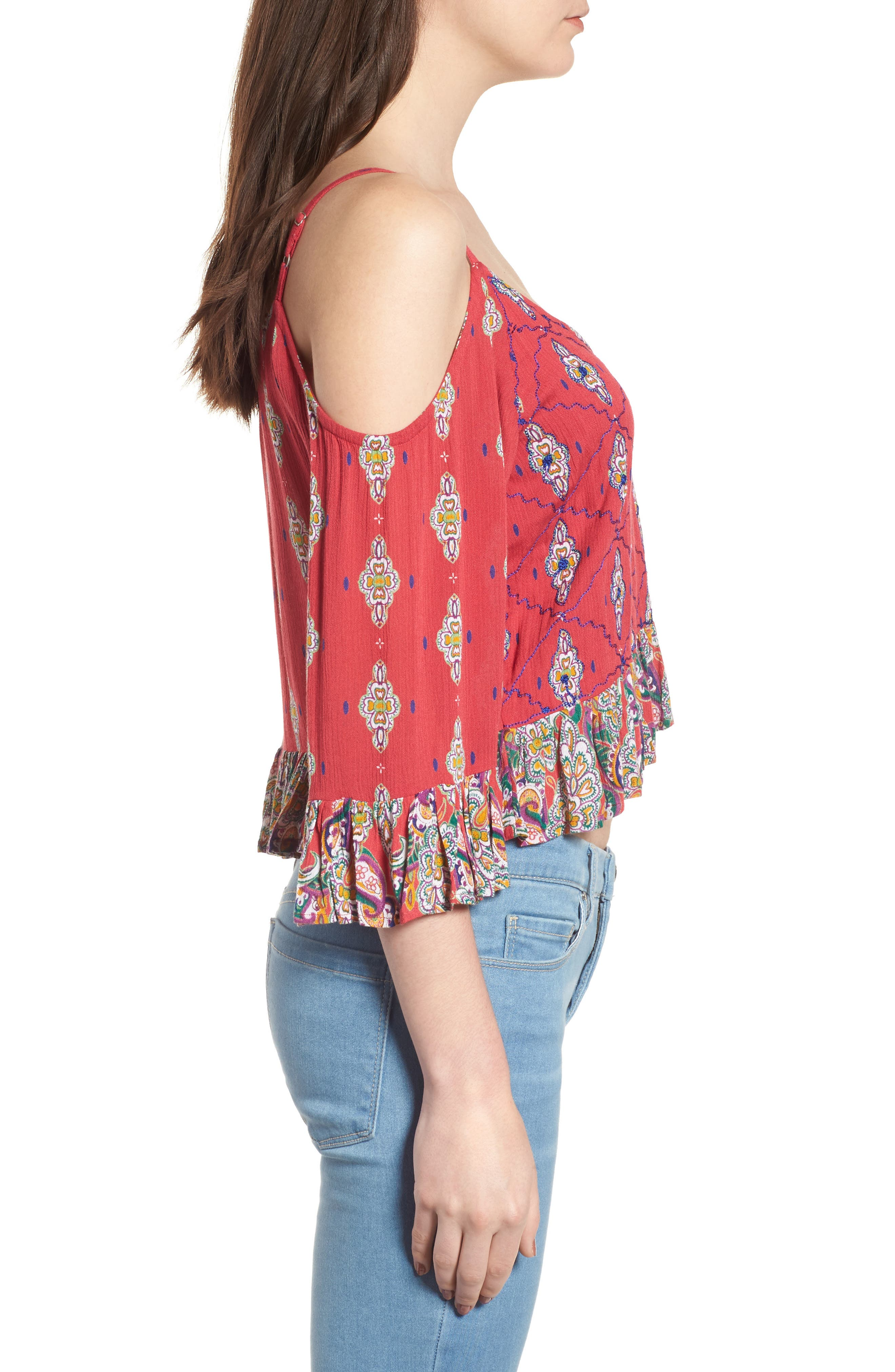 Alice Ruffle Cold Shoulder Top,                             Alternate thumbnail 3, color,                             Lipstick Red