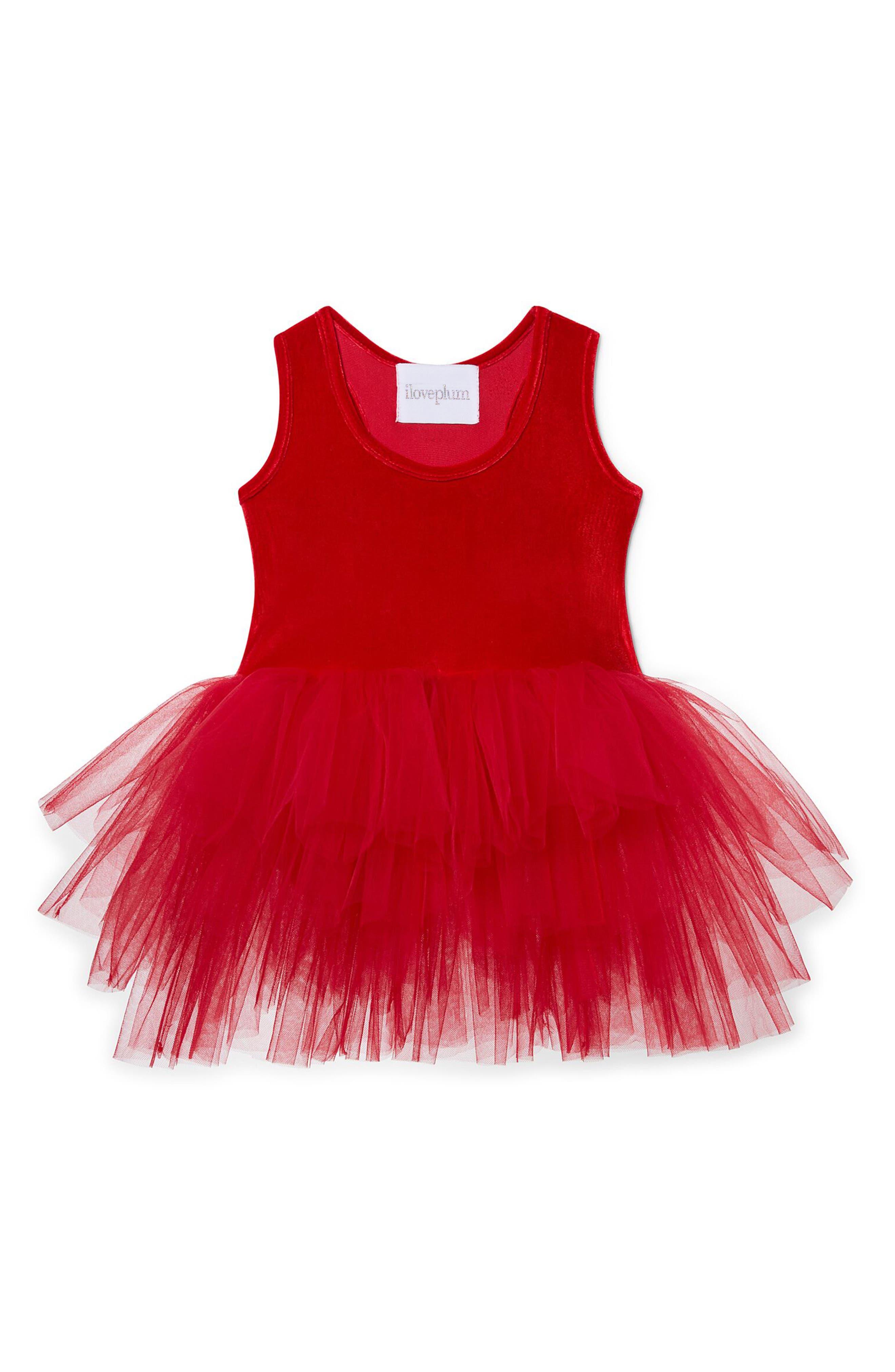 Velvet & Tulle Tutu Dress,                         Main,                         color, Red Velvet