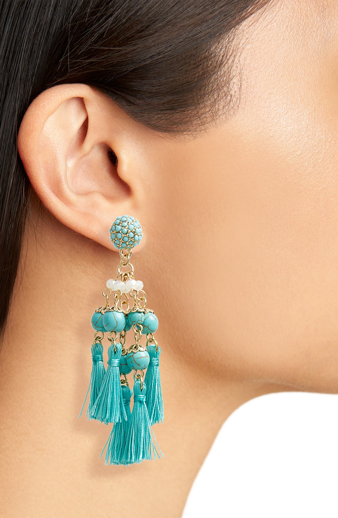 Tassel Howlite Bead Earrings,                             Alternate thumbnail 2, color,                             Turquoise