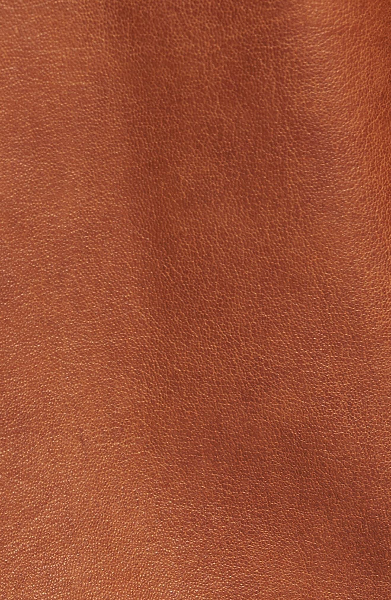 Zip Leather Jacket,                             Alternate thumbnail 5, color,                             Cognac