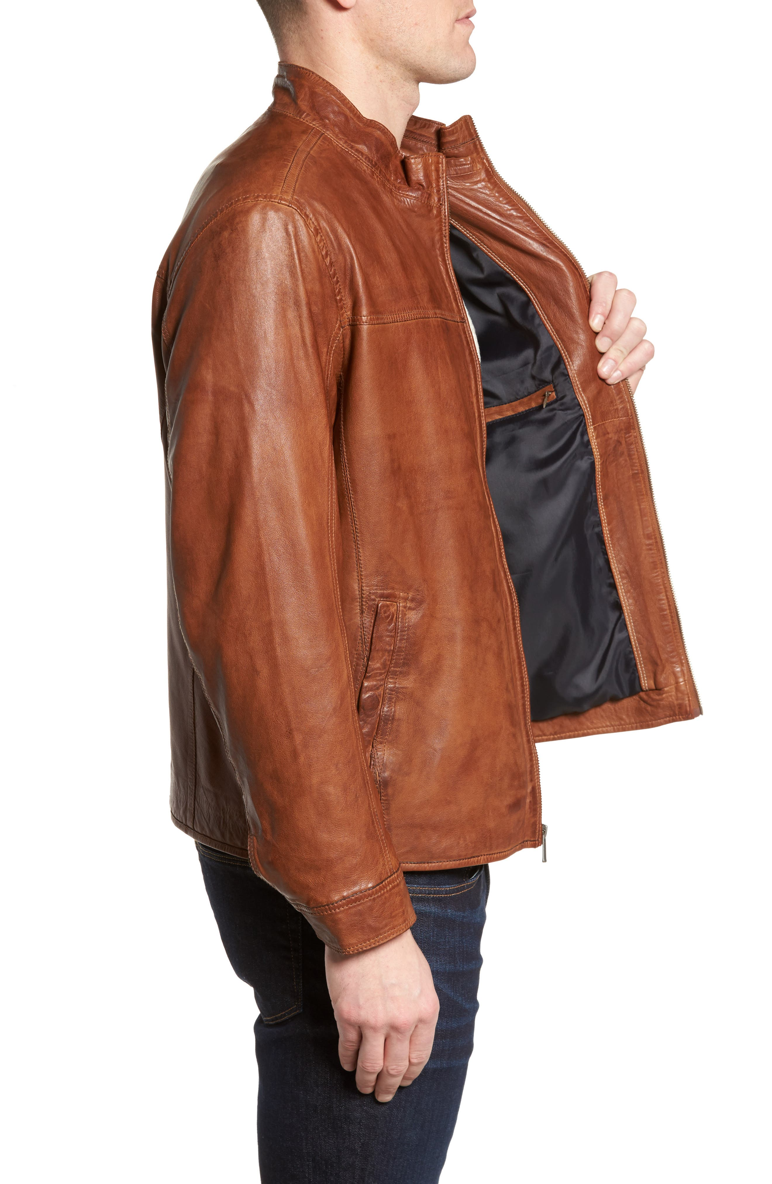 Zip Leather Jacket,                             Alternate thumbnail 3, color,                             Cognac
