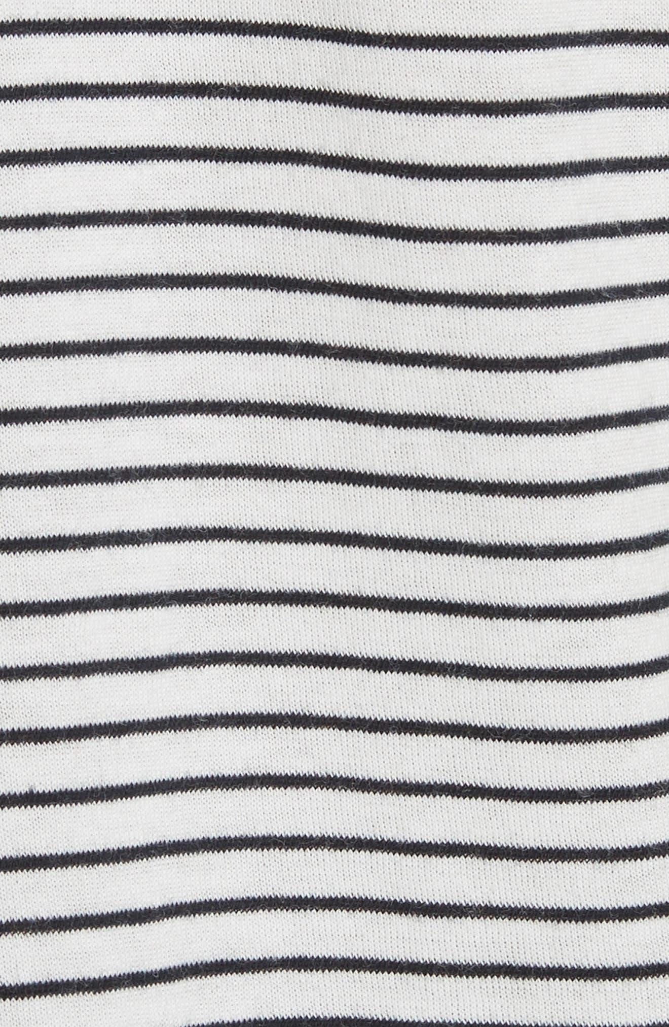 Classic Stripe Rolled Sleeve Cotton Tee,                             Alternate thumbnail 5, color,                             Vanilla/ Coastal