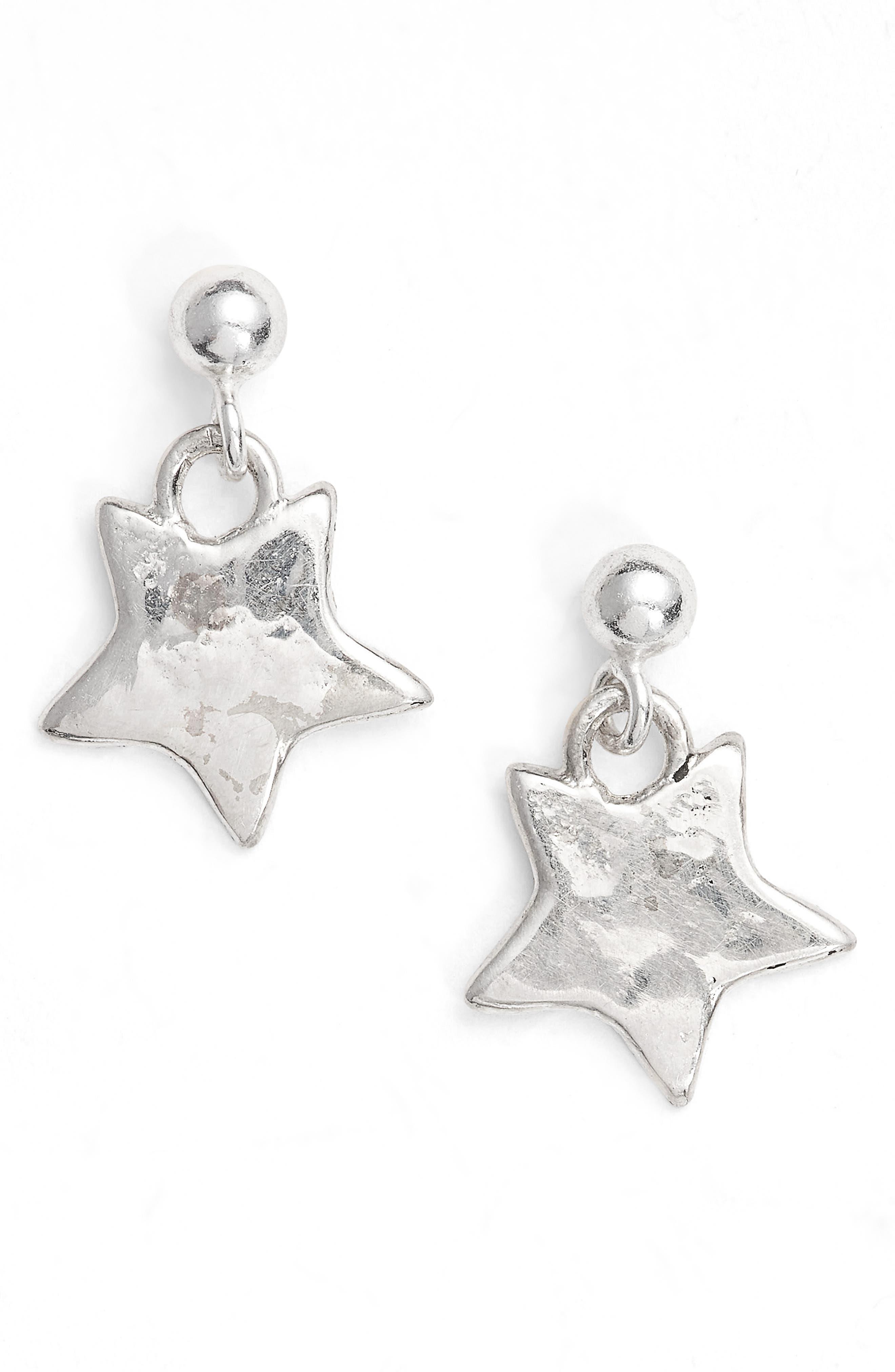 Mini Star Drop Earrings,                         Main,                         color, Silver