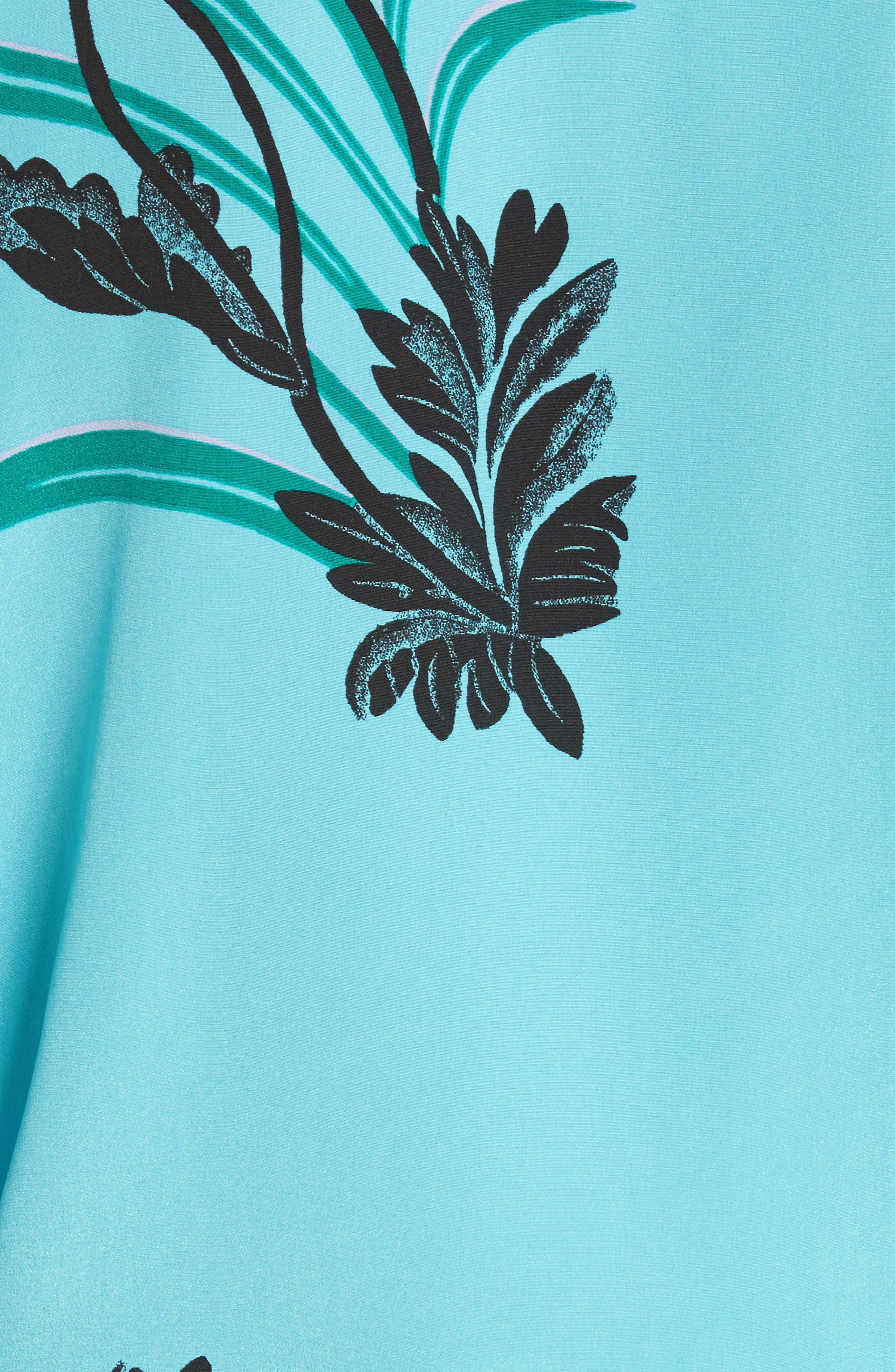 Floral Print Stretch Silk Shirt,                             Alternate thumbnail 5, color,                             Farren Marine